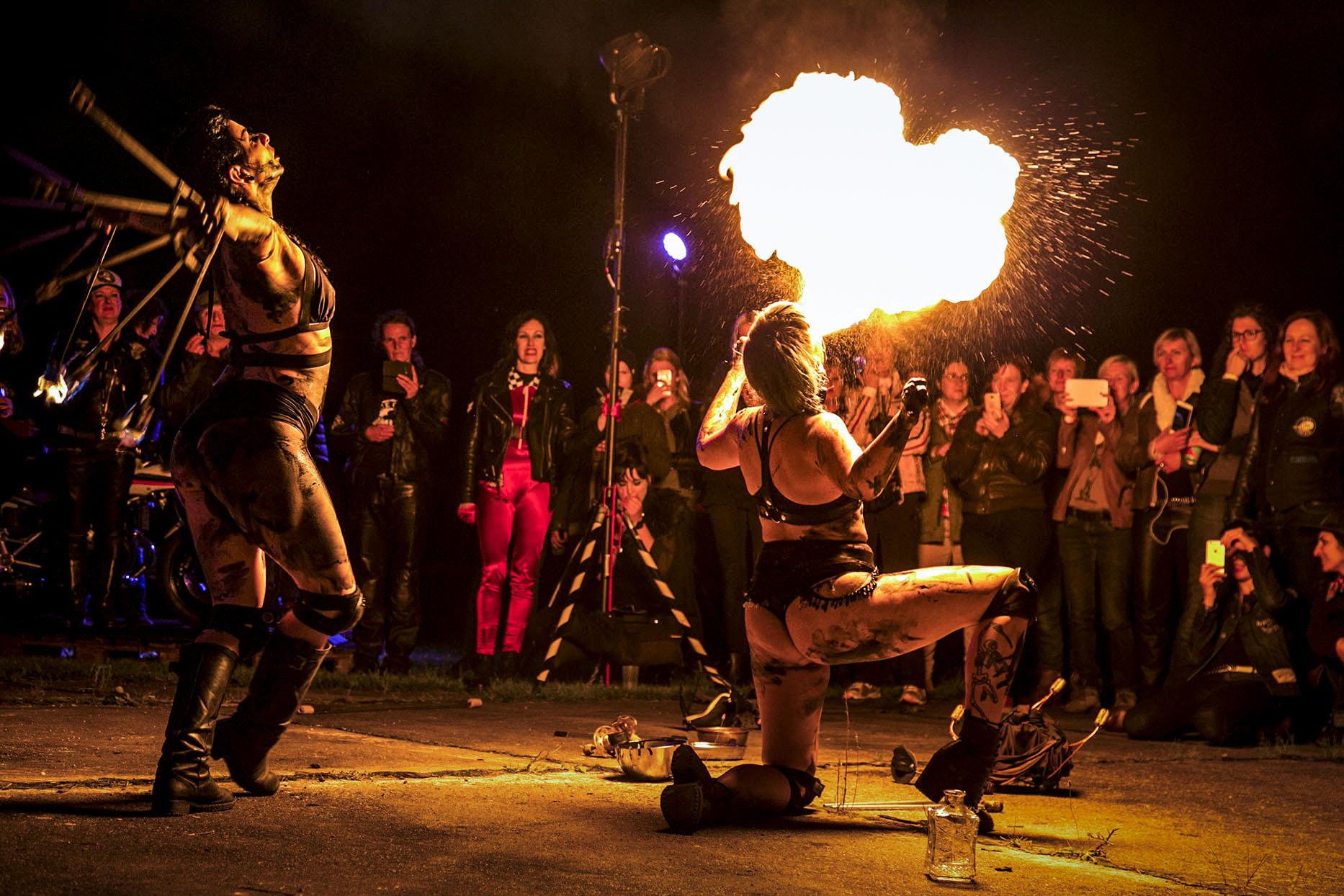 Fire dancers at Petrolettes Festival
