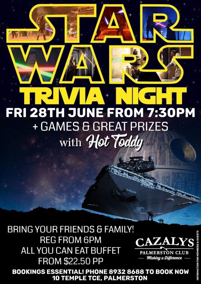 Jedi's rejoice, this is your calling!  Friday 28th June will be our STAR WARS TRIVIA NIGHT from 7:30pm!  FREE EVENT! Bookings Essential - Phone 8932 8688 to book your table now! + Saturday Night is the all you can eat buffet from $22.50 per person with the kids club open from 5:30pm-10:30pm!