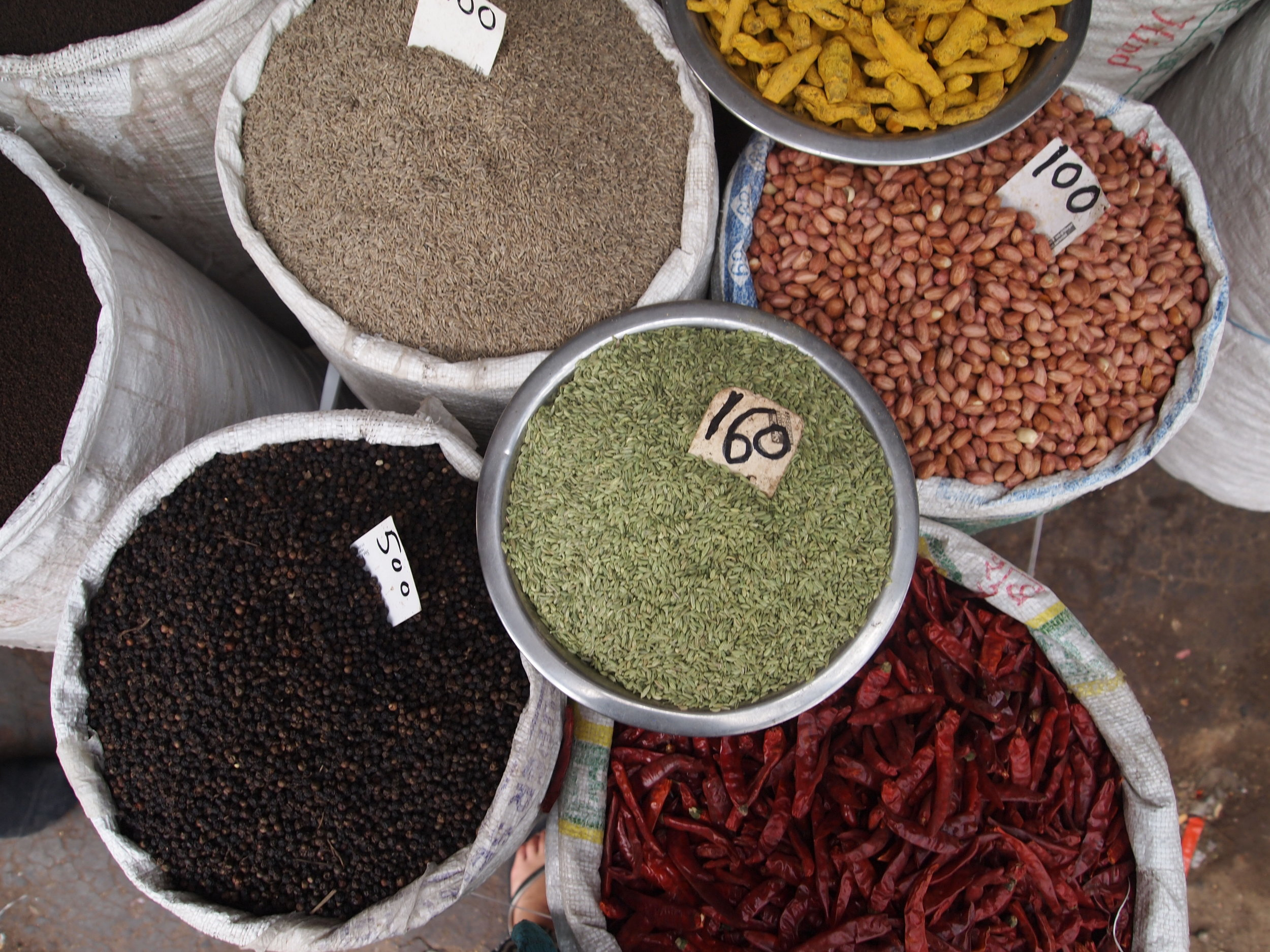 Spices for sale at a market in Mysore, India