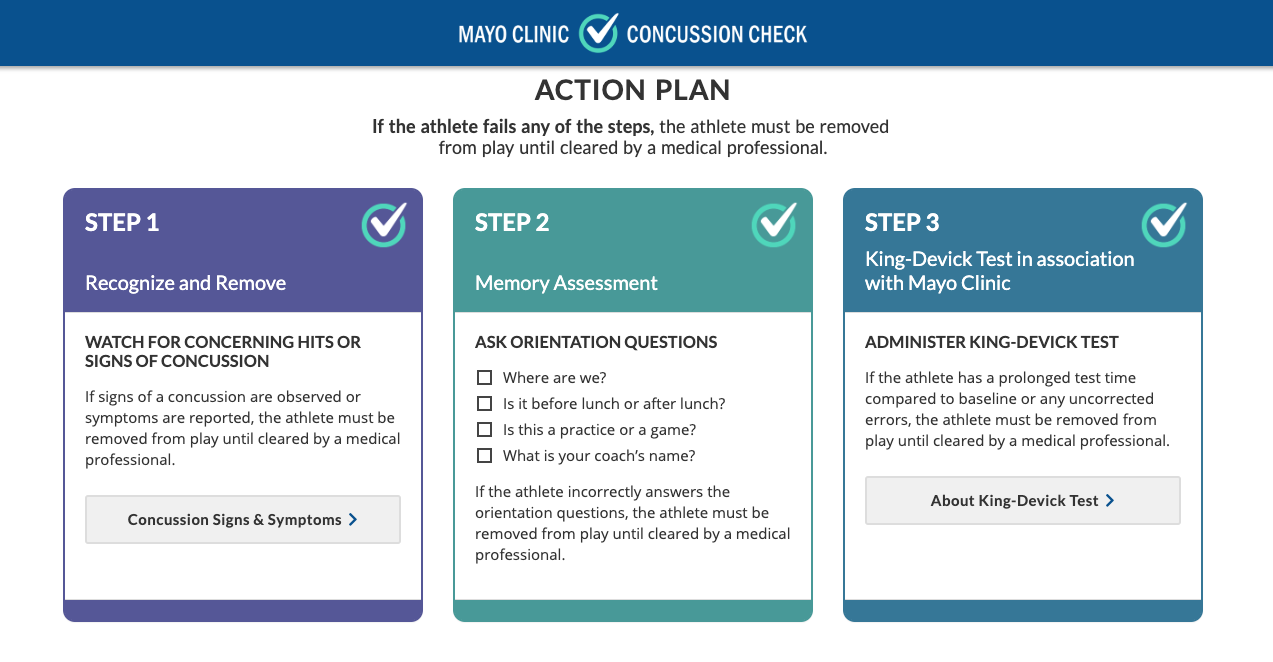 This image is from the  Mayo Clinic Concussion Check  website.