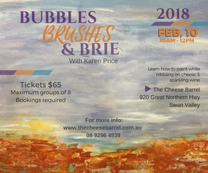 Bubbles Brushes & Brie - Cheese and Art Class Perth