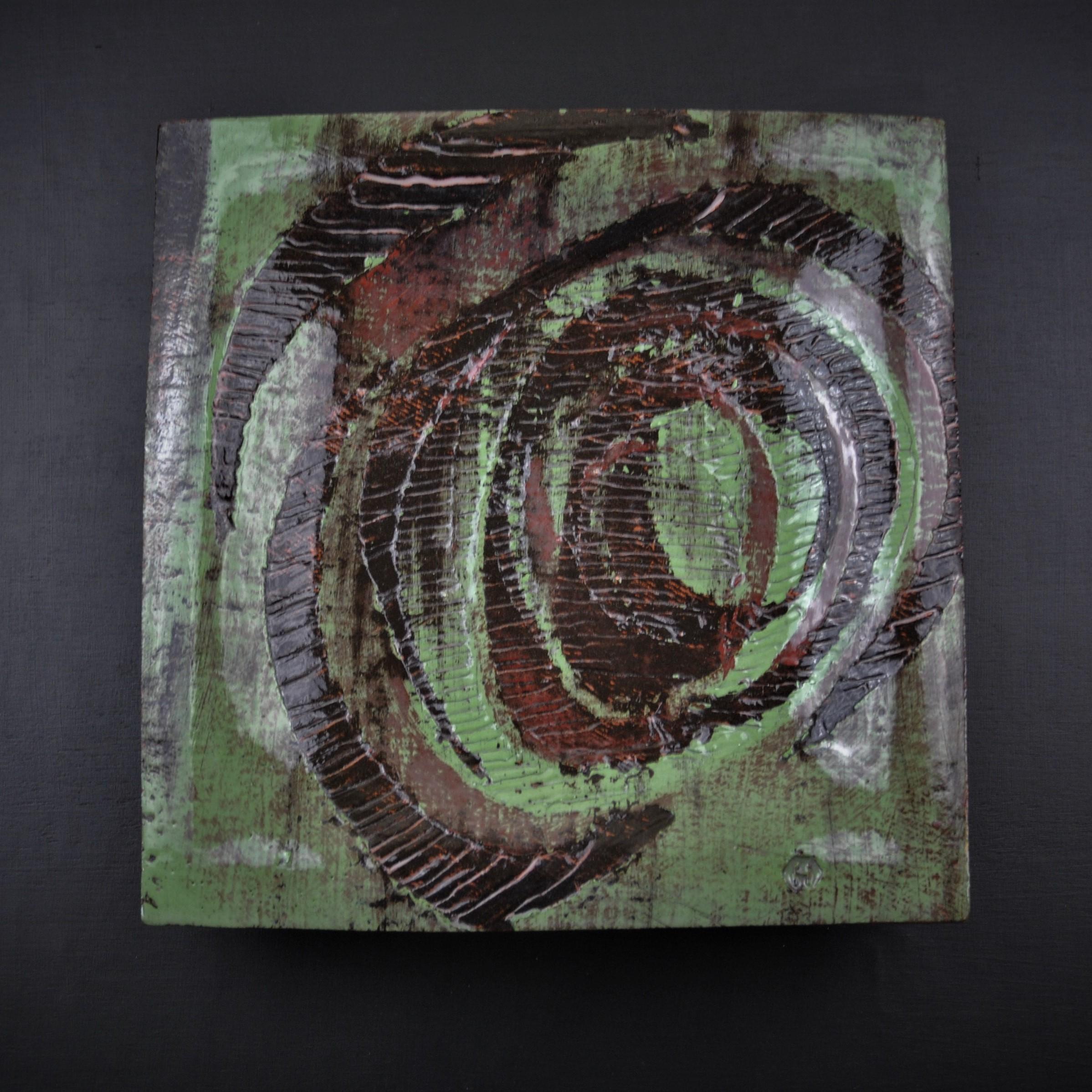 Vortex - Ceramic plate 25cm x 25cm approx. Dave Harper (2017)