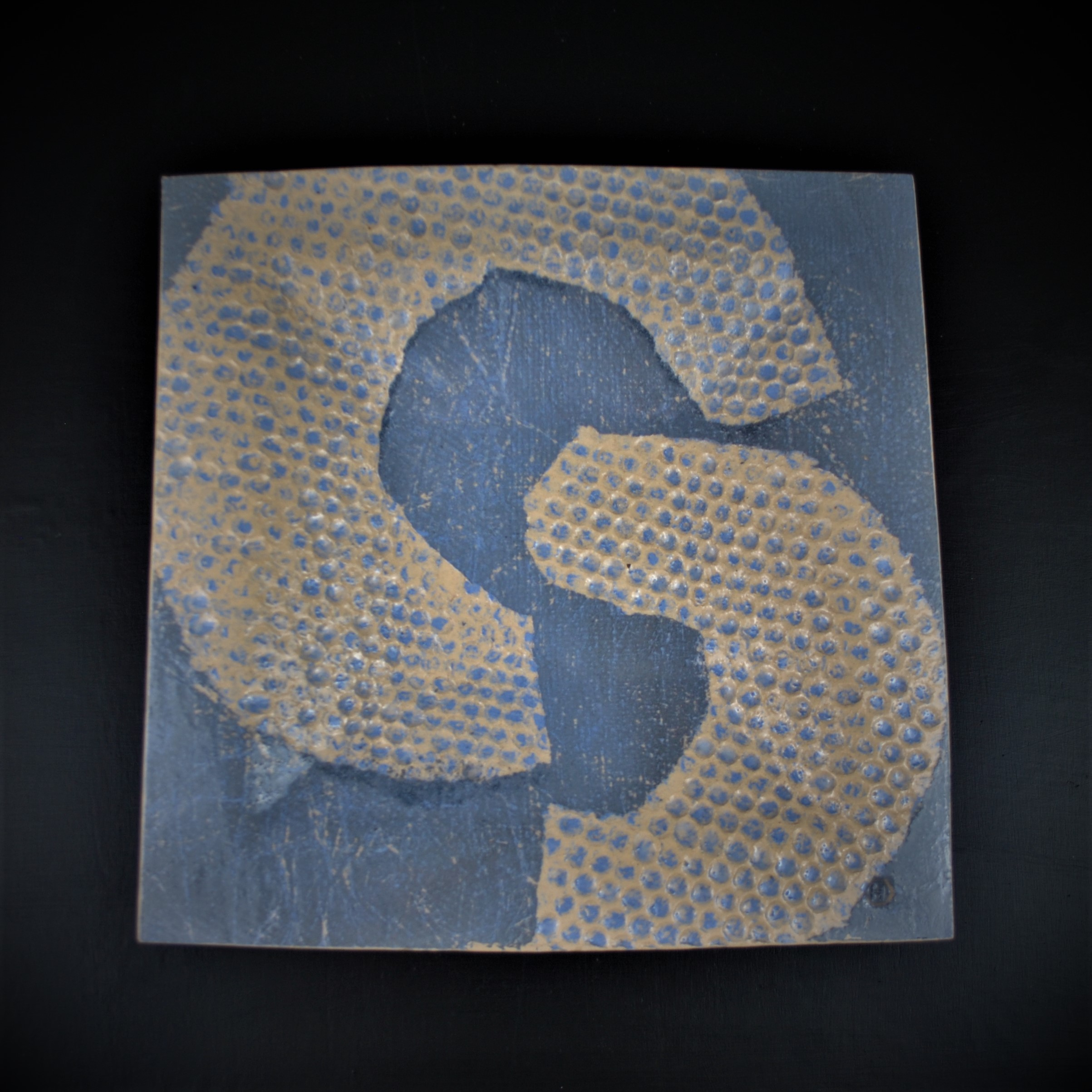 Dave Harper 2019 Cup&Ring series. Large platter in blue & grey. 33cm x 33cm on black background (Square edit) DSC_6311 (2).JPG