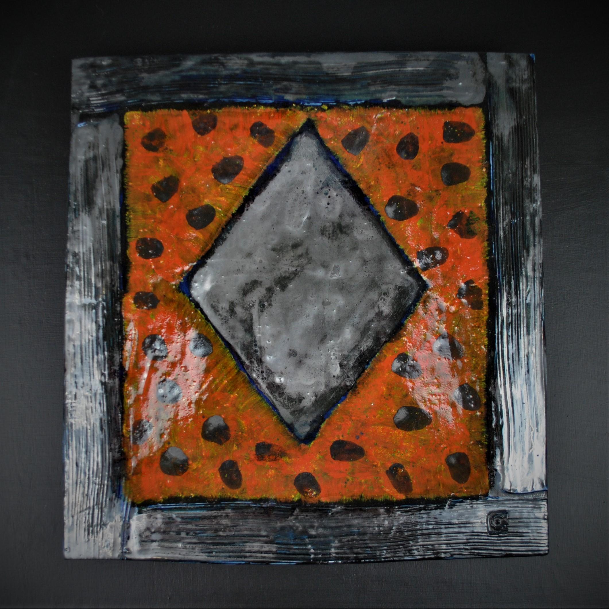 Mike Cain 2019 Diamond motif. Orange square with dots on black background.  (Square edit) DSC_6257 (2).JPG
