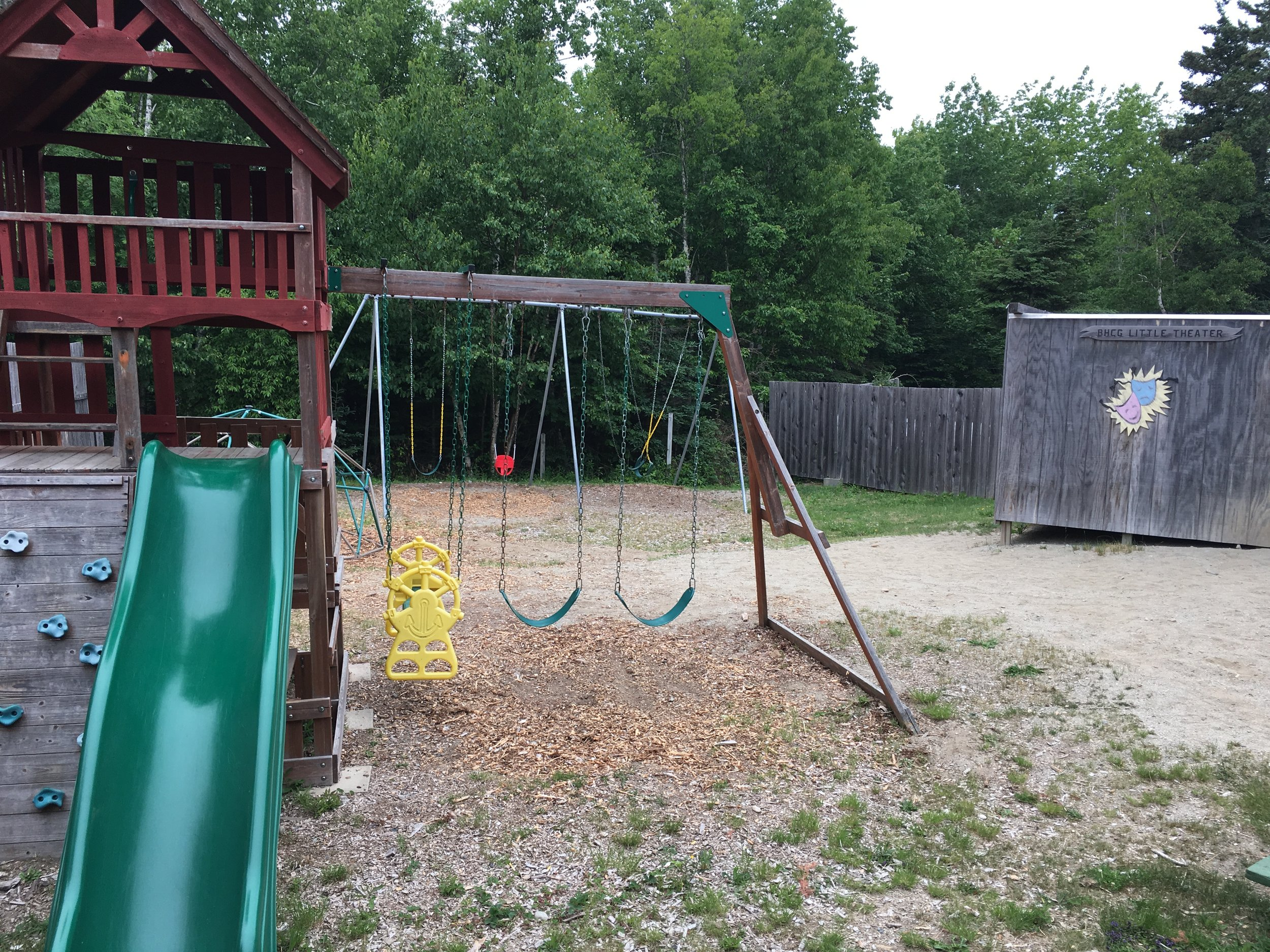 Playground - Our playground includes swings & a mini stage (super cool!)
