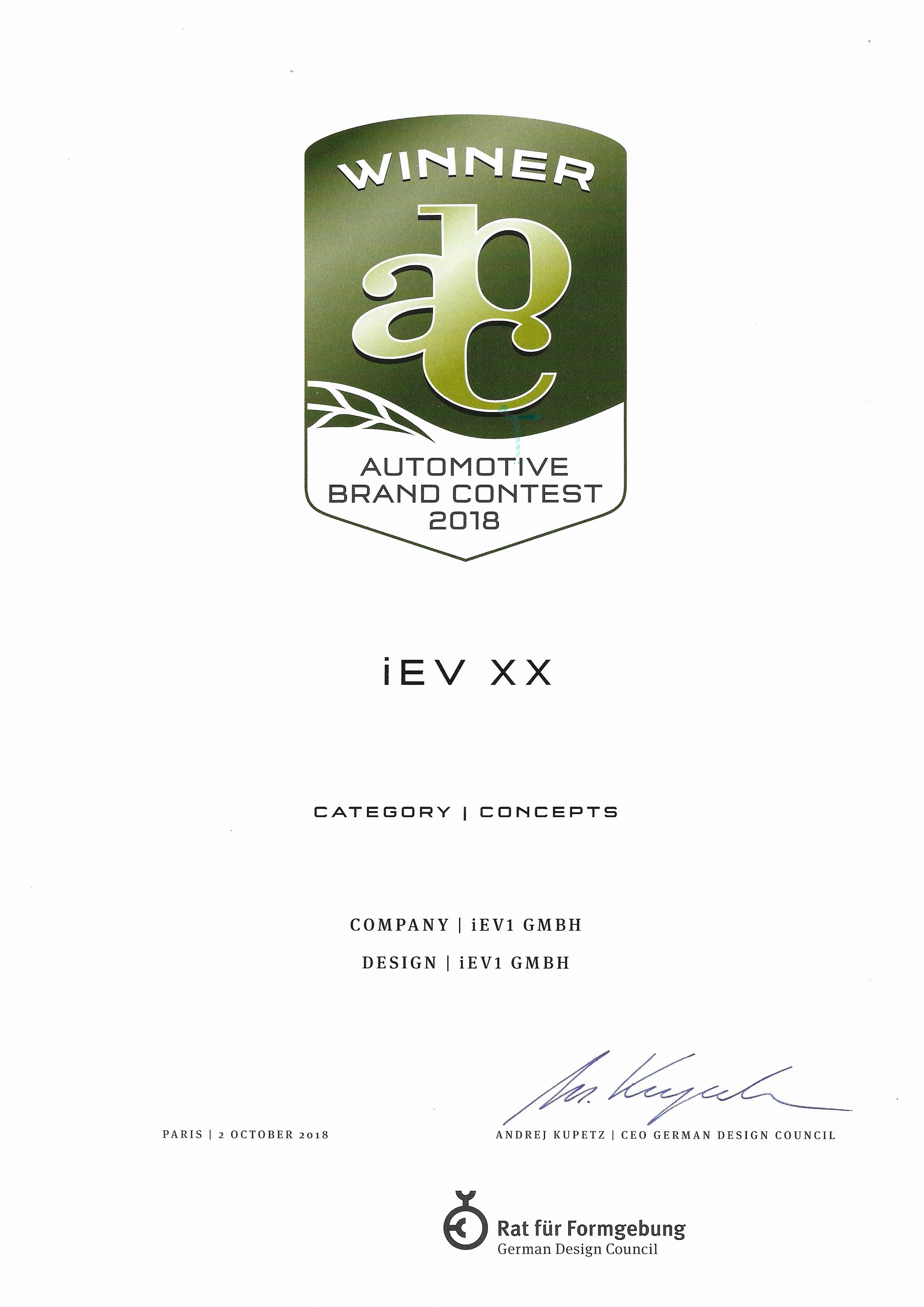 iEV XX WinnerAutomotive Brand Contest - iEV XX CATEGORY Concept winner Automotive brand contest 2018