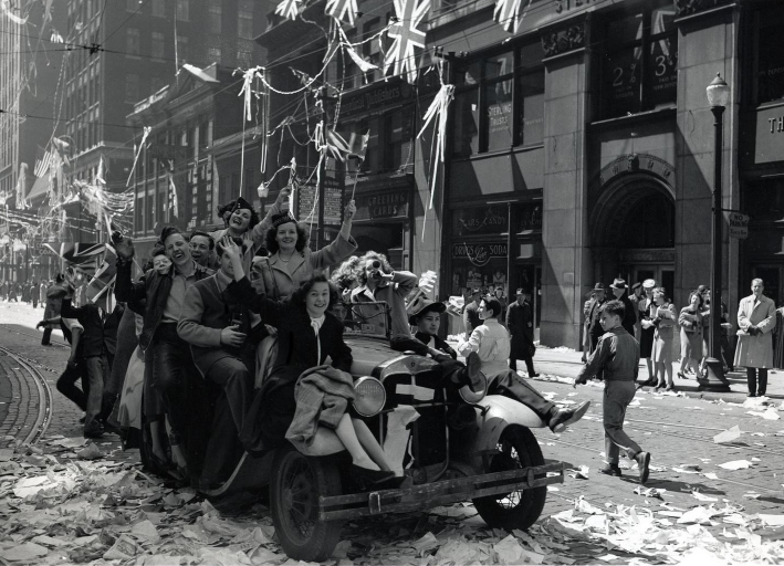 Victory in Europe Celebrations on Bay Street, Toronto.  May 8, 1945