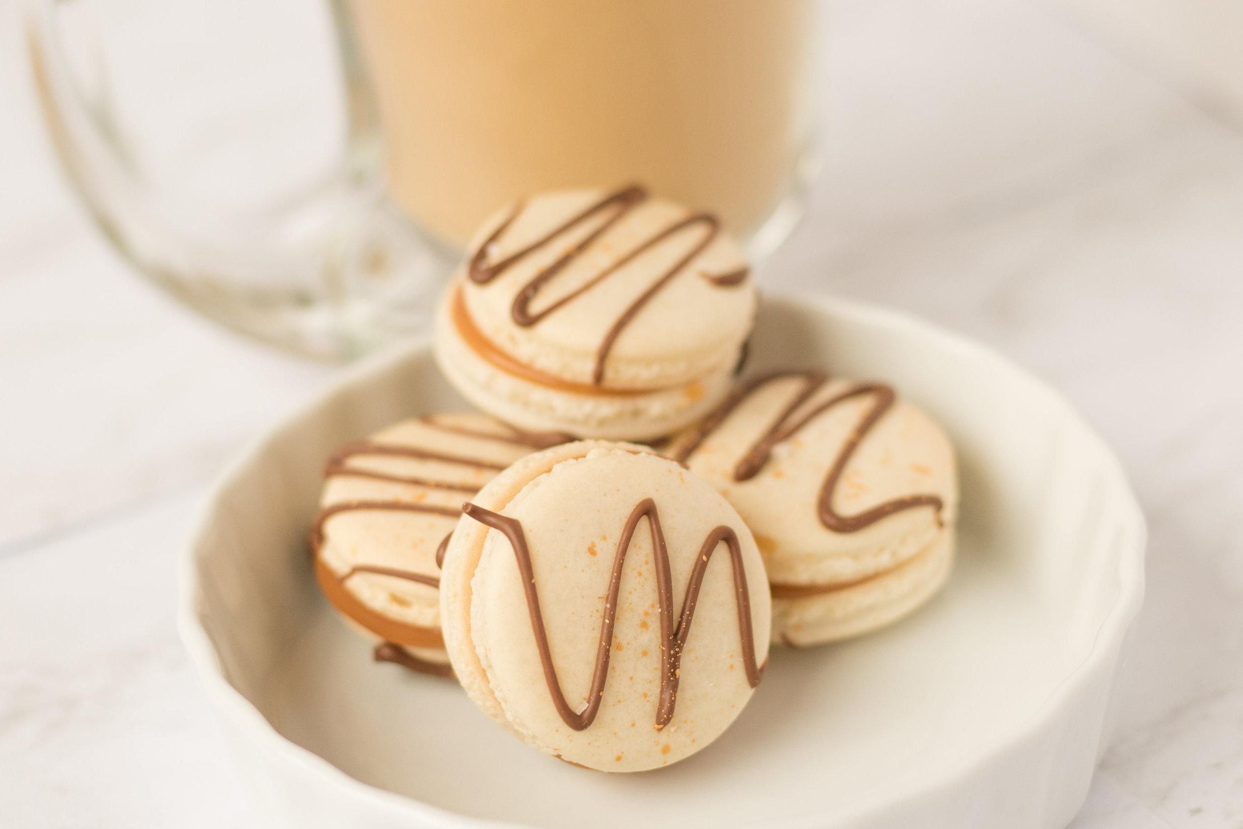 Salted Caramel Macarons ~ Image by Gillian Nhem Photography