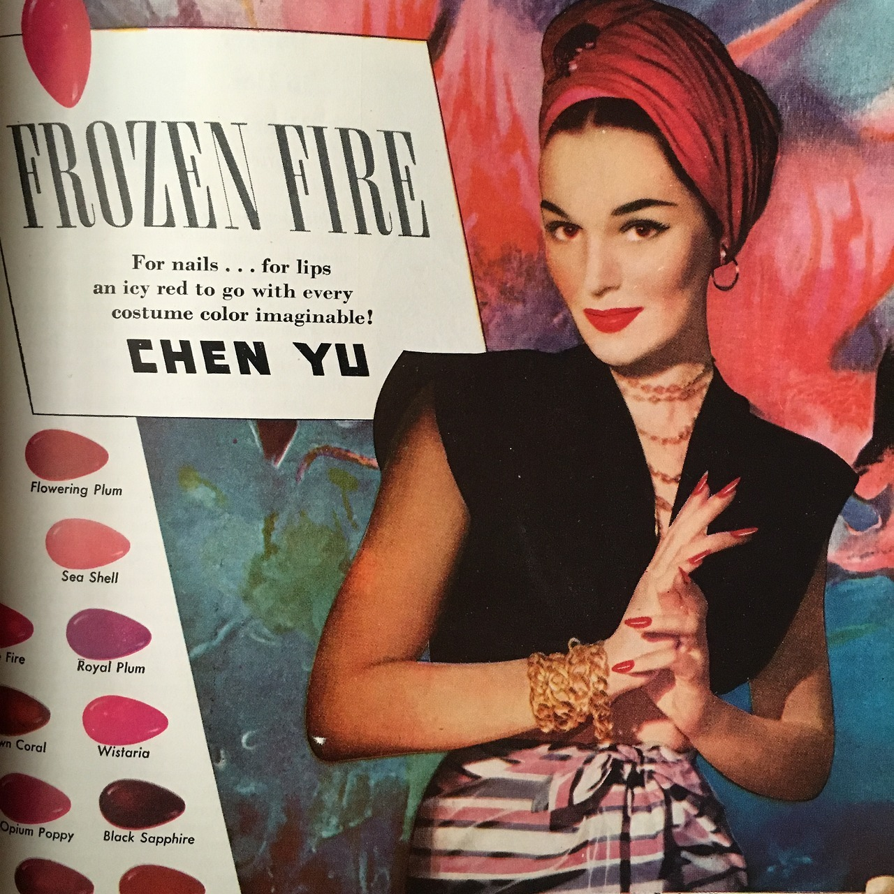 Detail of an ad for Chen Yu Cosmetics.  Redbook. August 1945.