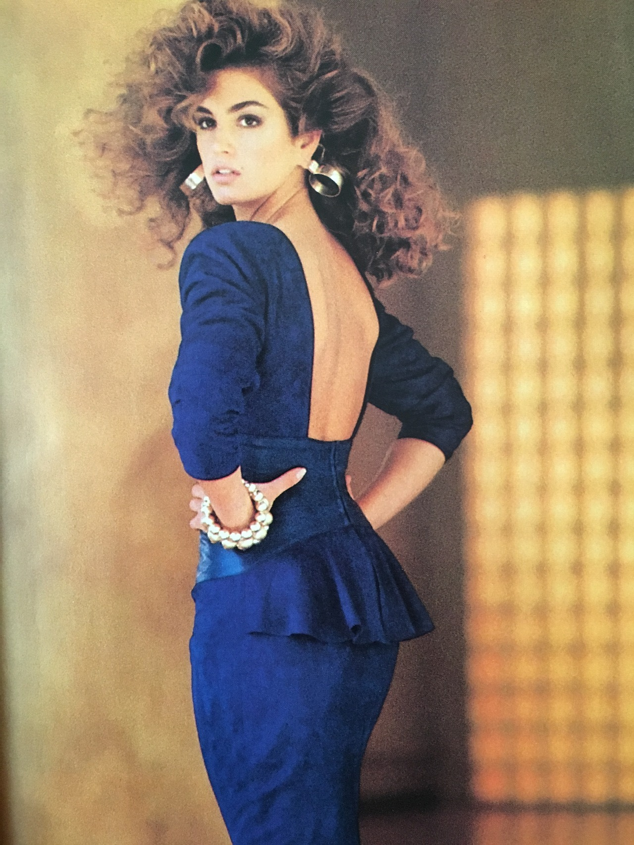 Cindy Crawford in an ad for Vakko.   Vogue. August 1987.