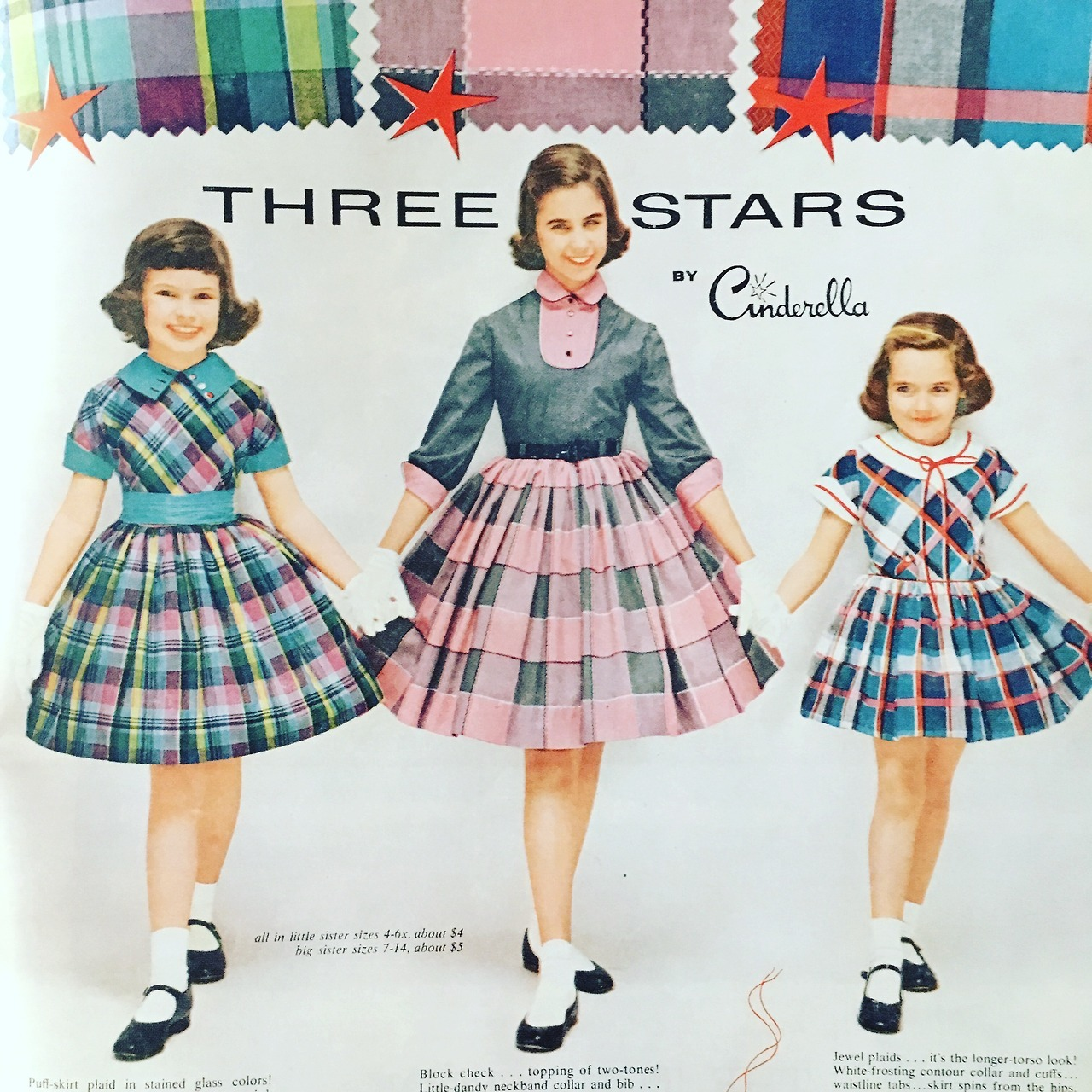 Three Stars by Cinderella. Detail of an ad by Mission Valley Fabrics.  McCall's Magazine. August 1955.