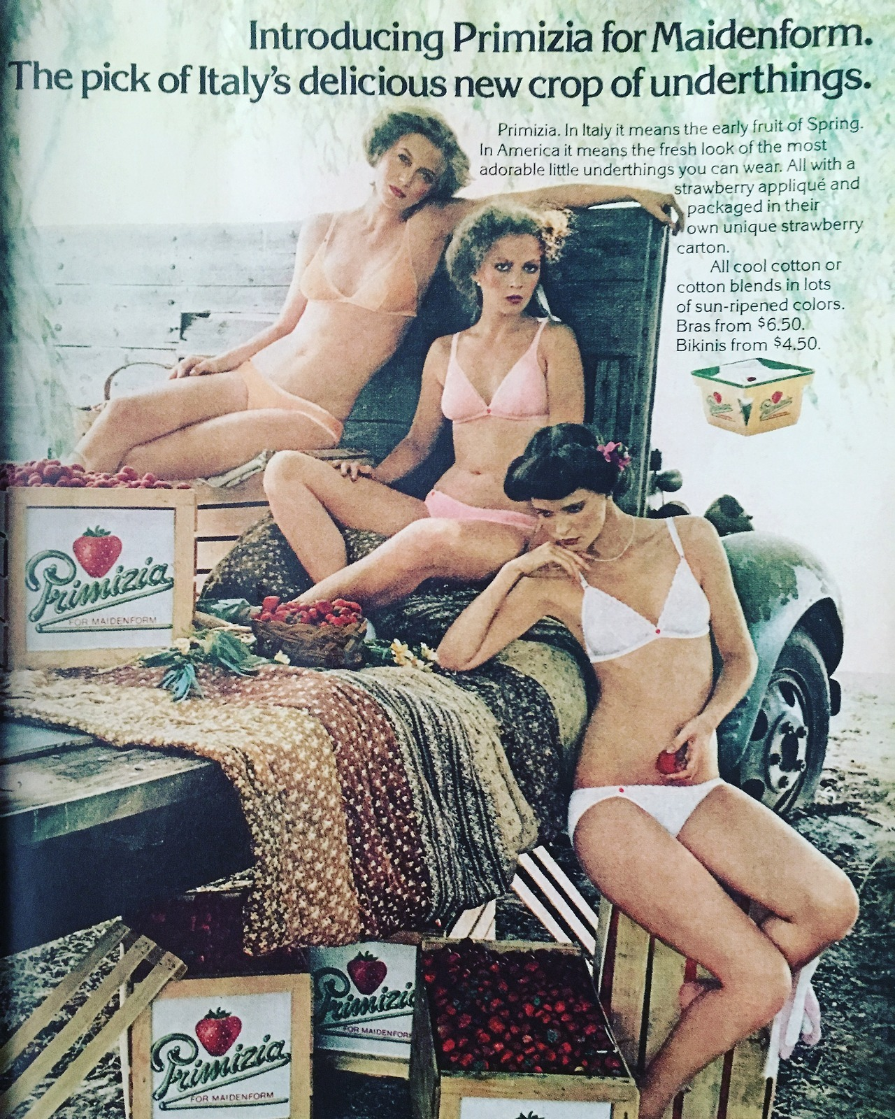 Introducing Primizia for Maidenform. The pick of Italy's delicious new crop of underthings.  Cosmopolitan. August 1979.
