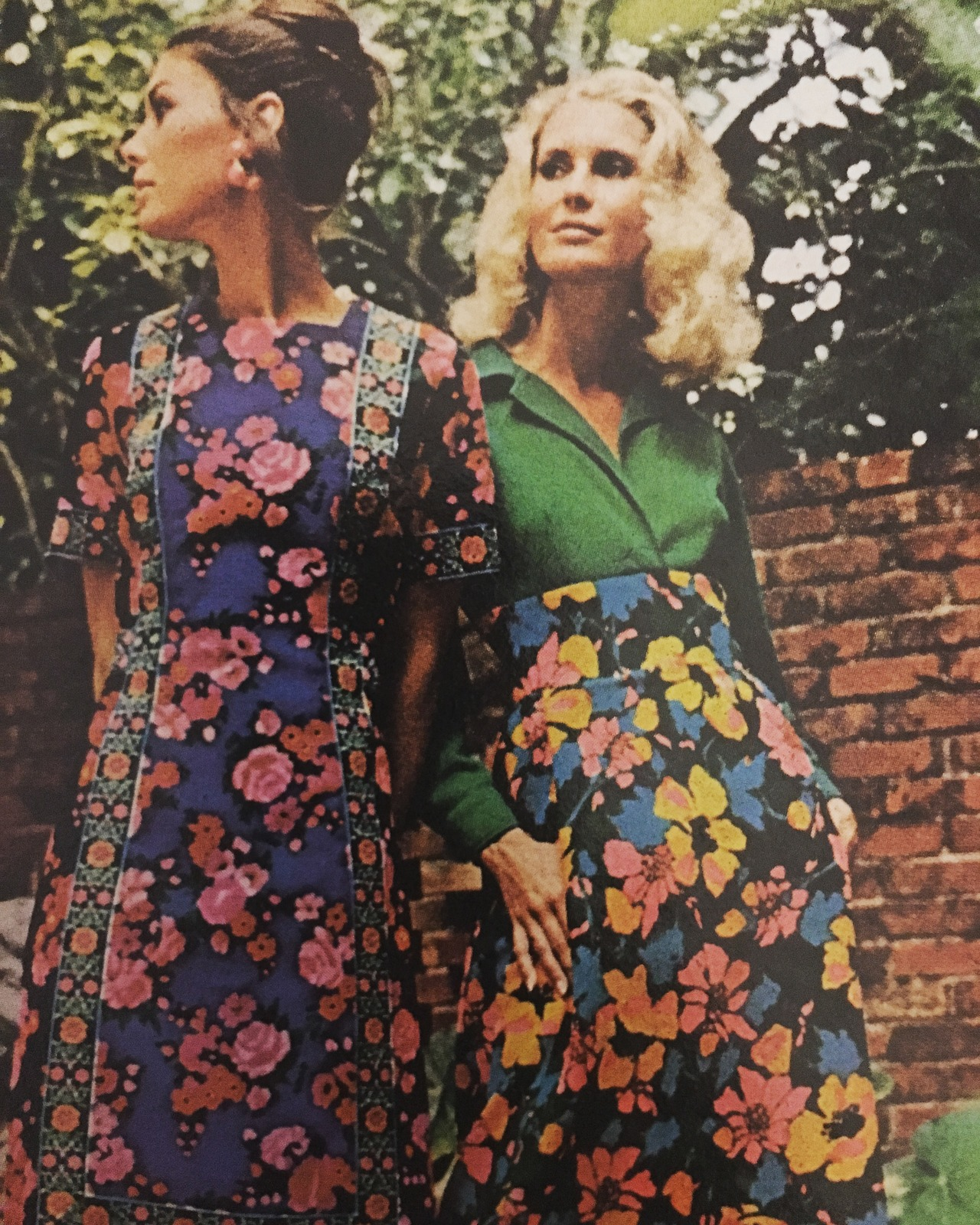 Please pick the flowers!   Lilly Pulitzer.   Vogue. August 1, 1971.  Lilly Pulitzer is known as the Queen of Prep, and is synonymous with bright floral prints. The funny thing is, the brand was pretty much started as a fluke. Being that the Pulitzers owned citrus groves in Florida, they opened a juice stand in Palm Beach. Squeezing oranges created a mess, so she made a dress to mask it with the printed fabric that the brand is known for. With so many compliments on the dress, she made some for sale at the stand, and soon the dresses would be far more successful than the juice. It also didn't hurt that one famous former classmate of Lilly's, Jackie Kennedy Onassis was photographed in her creations, which escalated the brand's popularity among the socialite set.