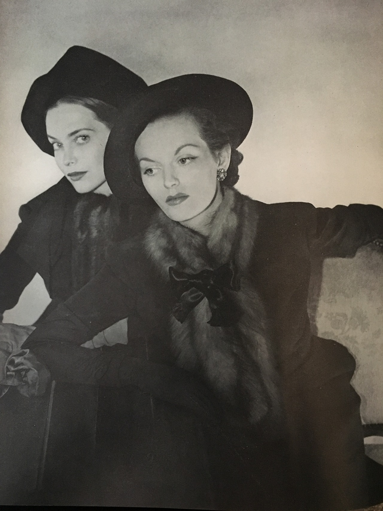 Velvet hats - fur ascots.   Vogue. August 1, 1947.