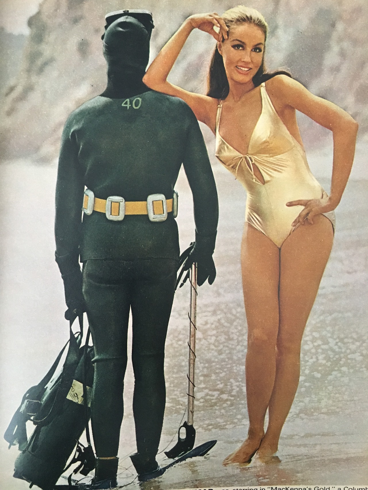 """Julie Newmar in a Coppertone advertisement promoting """"MacKenna's Gold.""""  Ingenue Magazine. July 1968."""