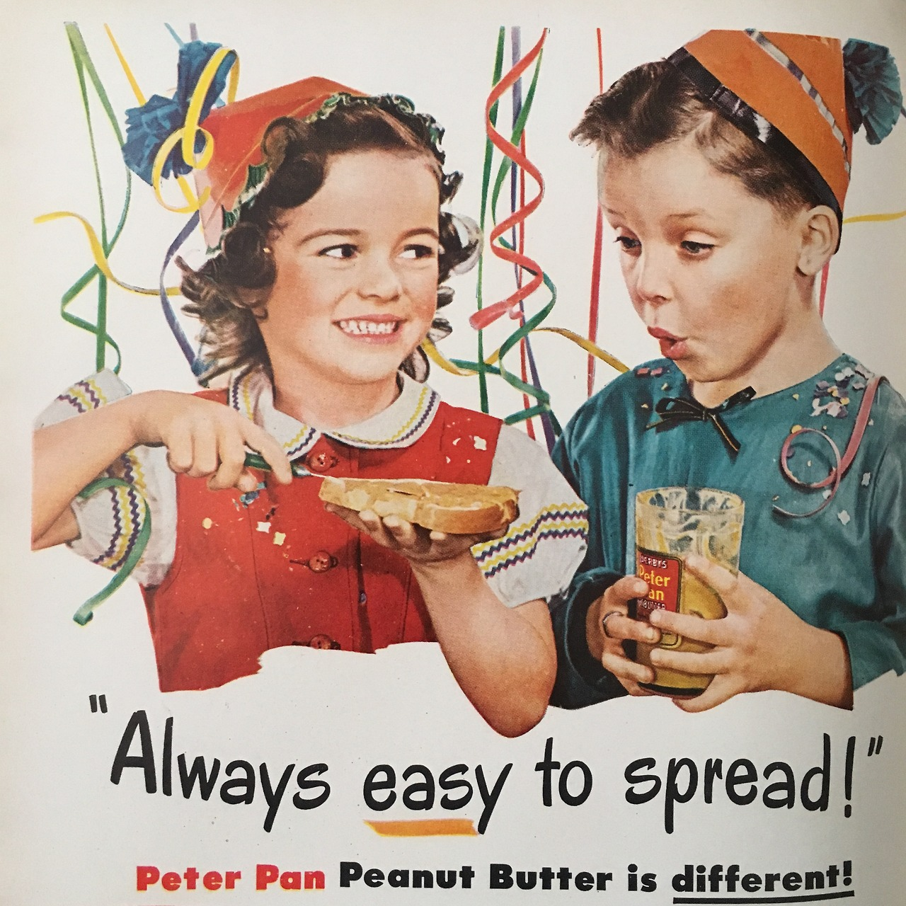"""""""Always easy to spread! Peter Pan Peanut Butter is different!""""  Woman's Day. July 1946."""