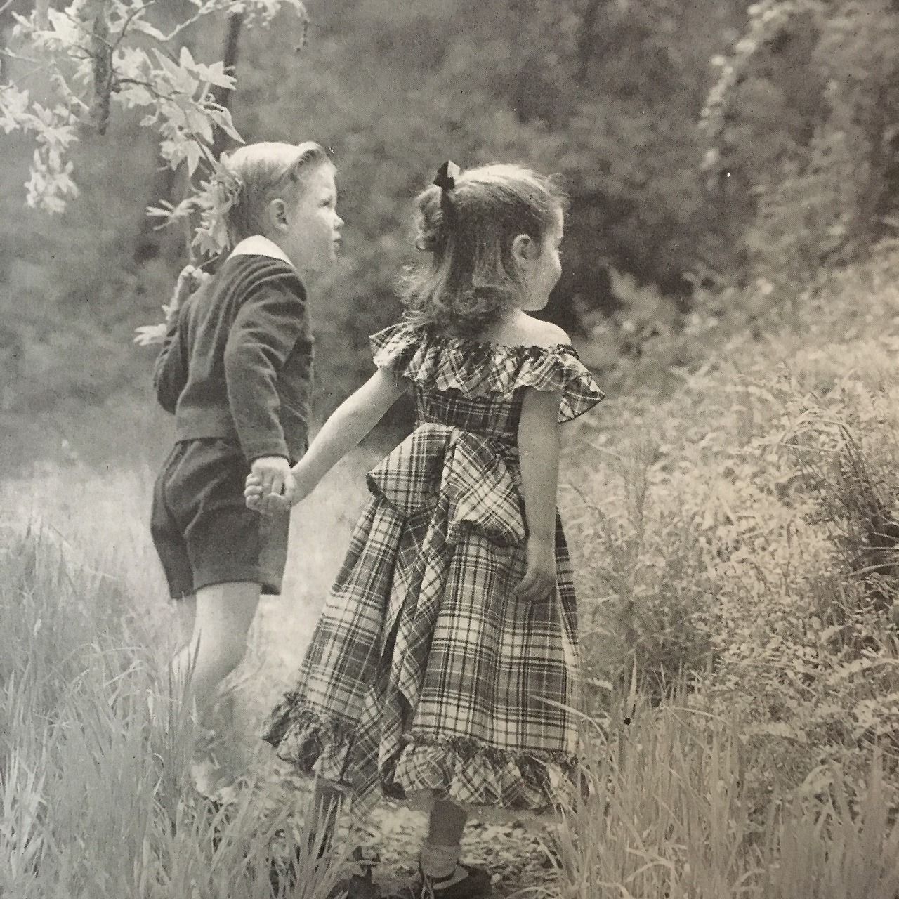 From Mademoiselle's annual Mothers and Babies issue. This image is from a children's fashion editorial. July 1947.