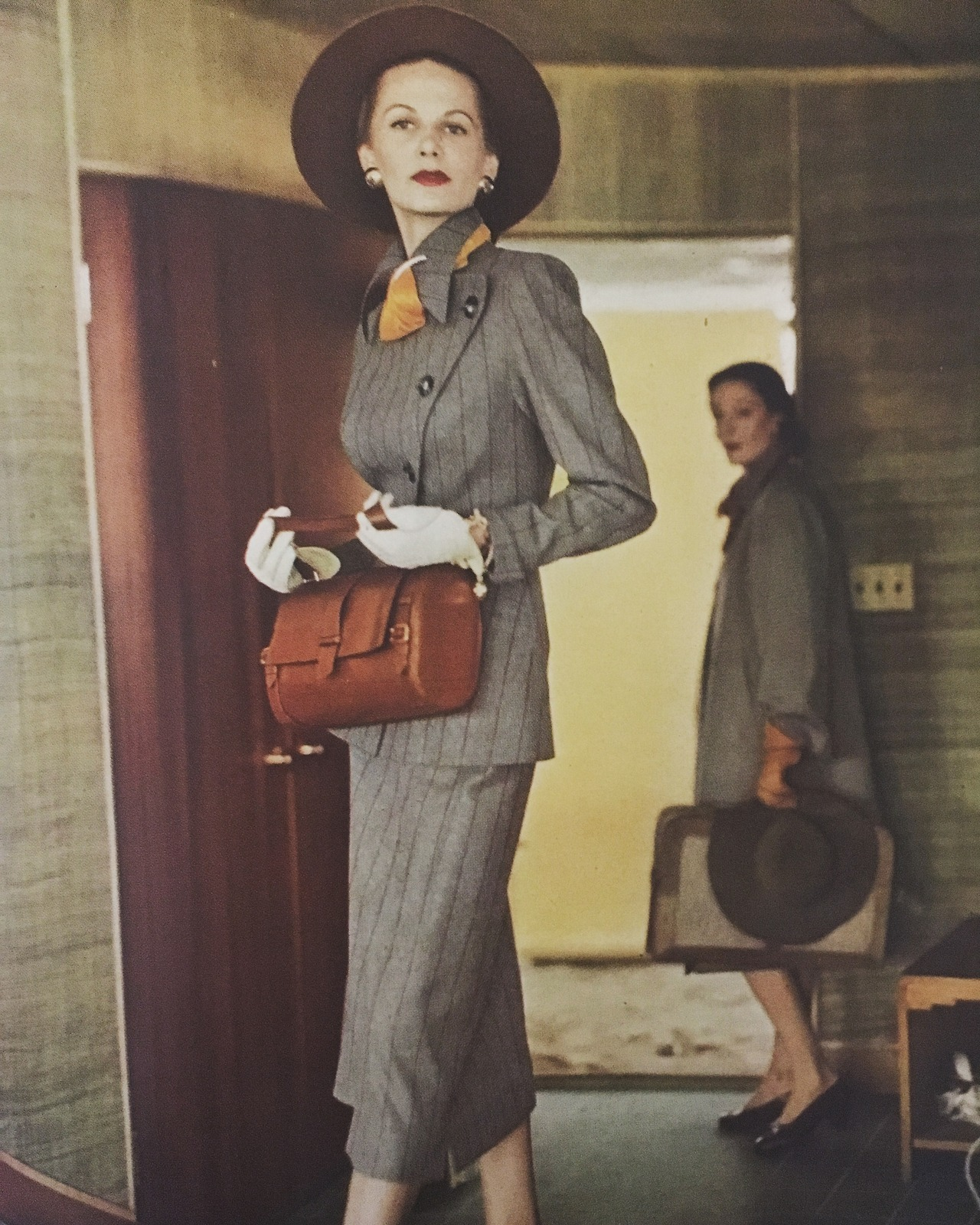 """A long line of suit."" Image by Horst P. Horst.   Vogue. July 15, 1947.   This is from one of my cherished bound Vogue volumes from the '40s."