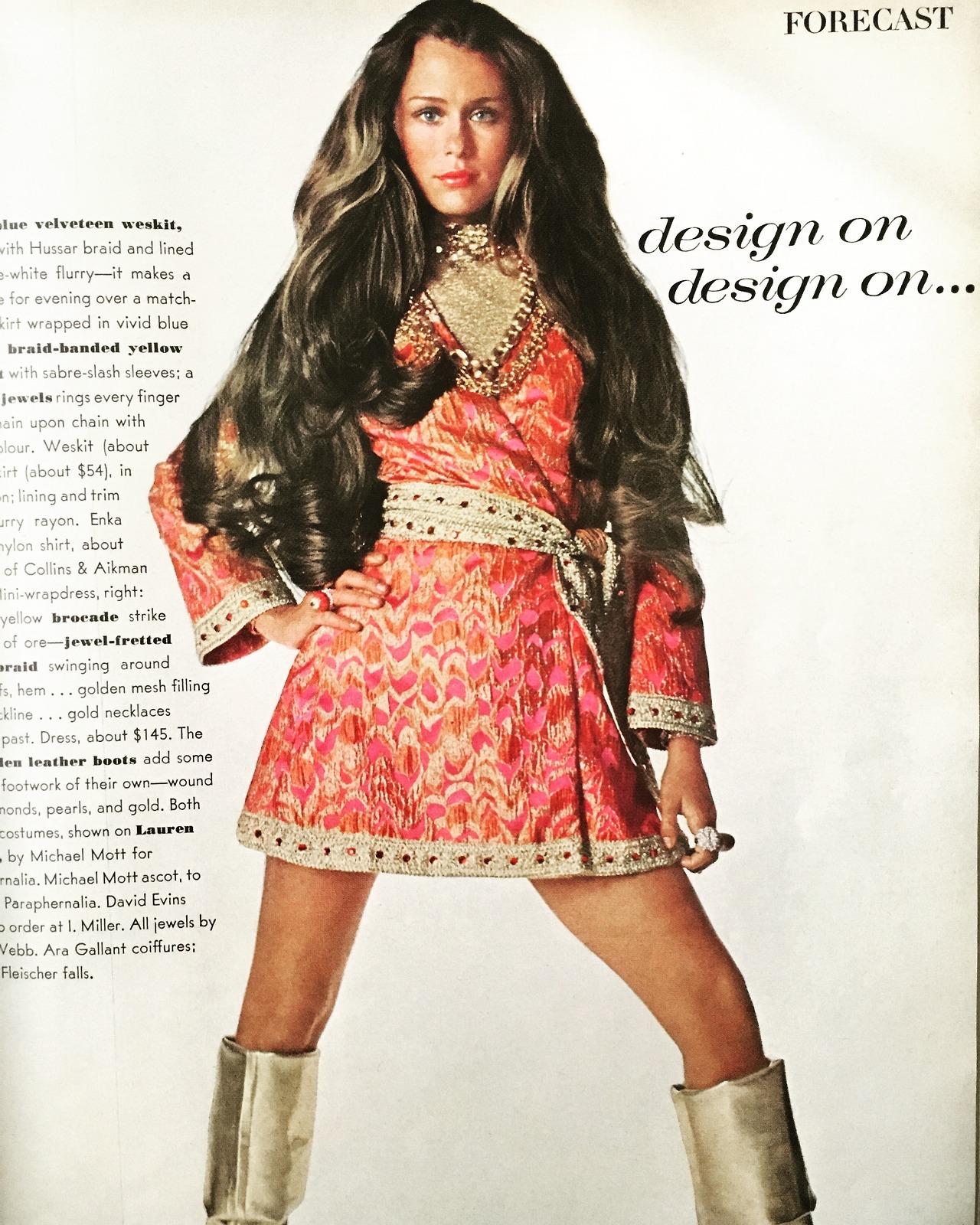 Design on design on…  Lauren Hutton. Vogue. July 1968.