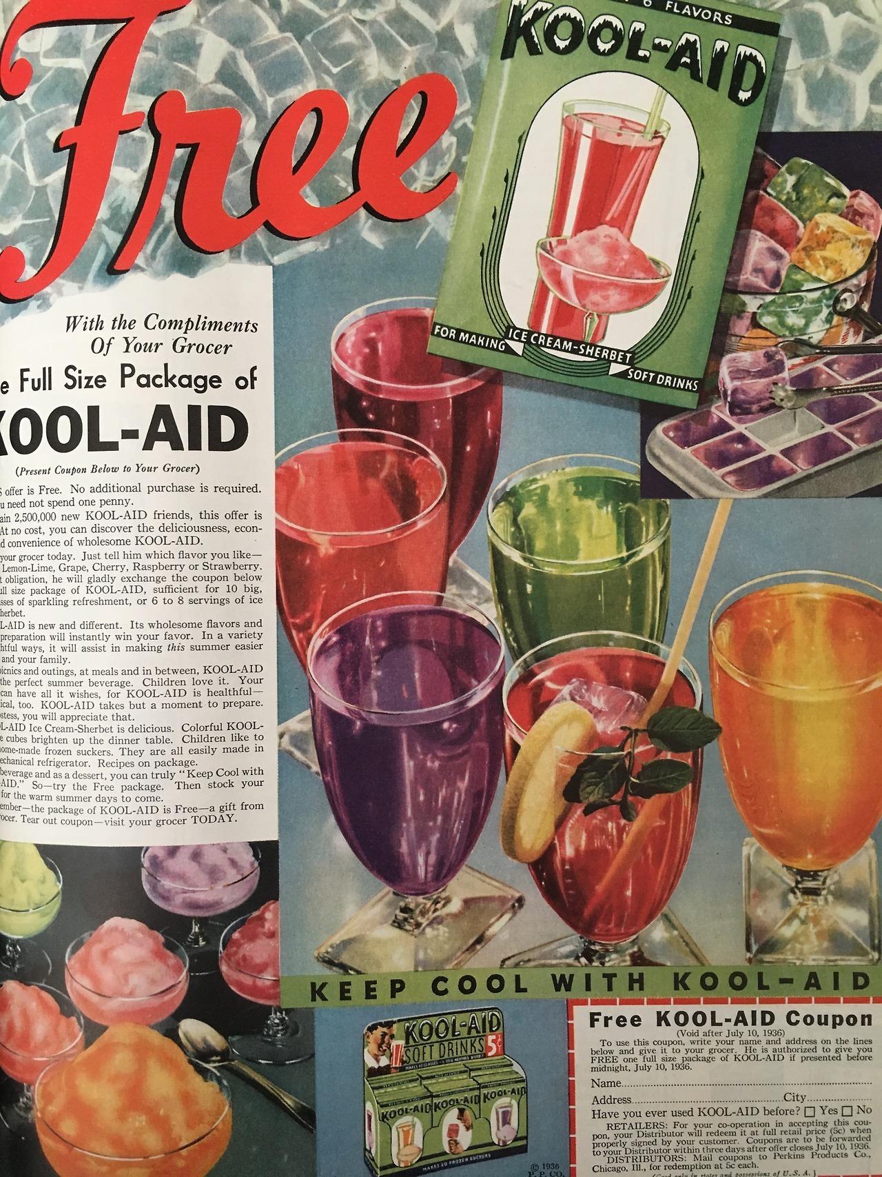 Kool-Aid ad promo.  Ladies' Home Journal. July 1936.