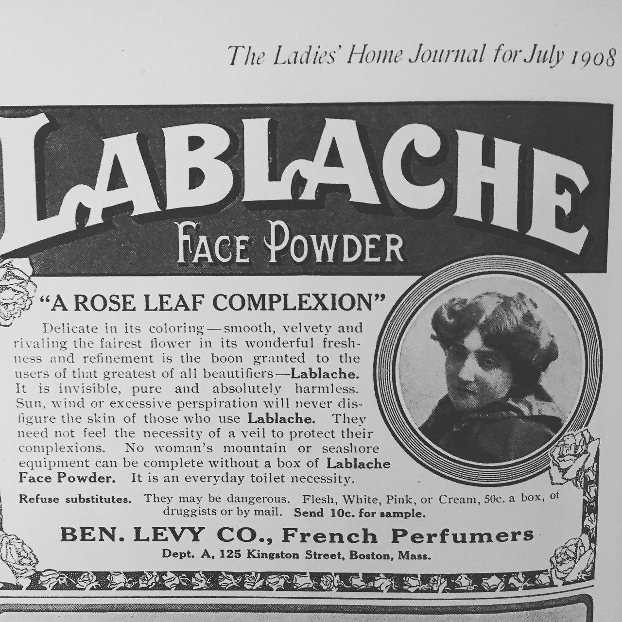 Lablache Face Powder.  Ladies' Home Journal. July 1908.