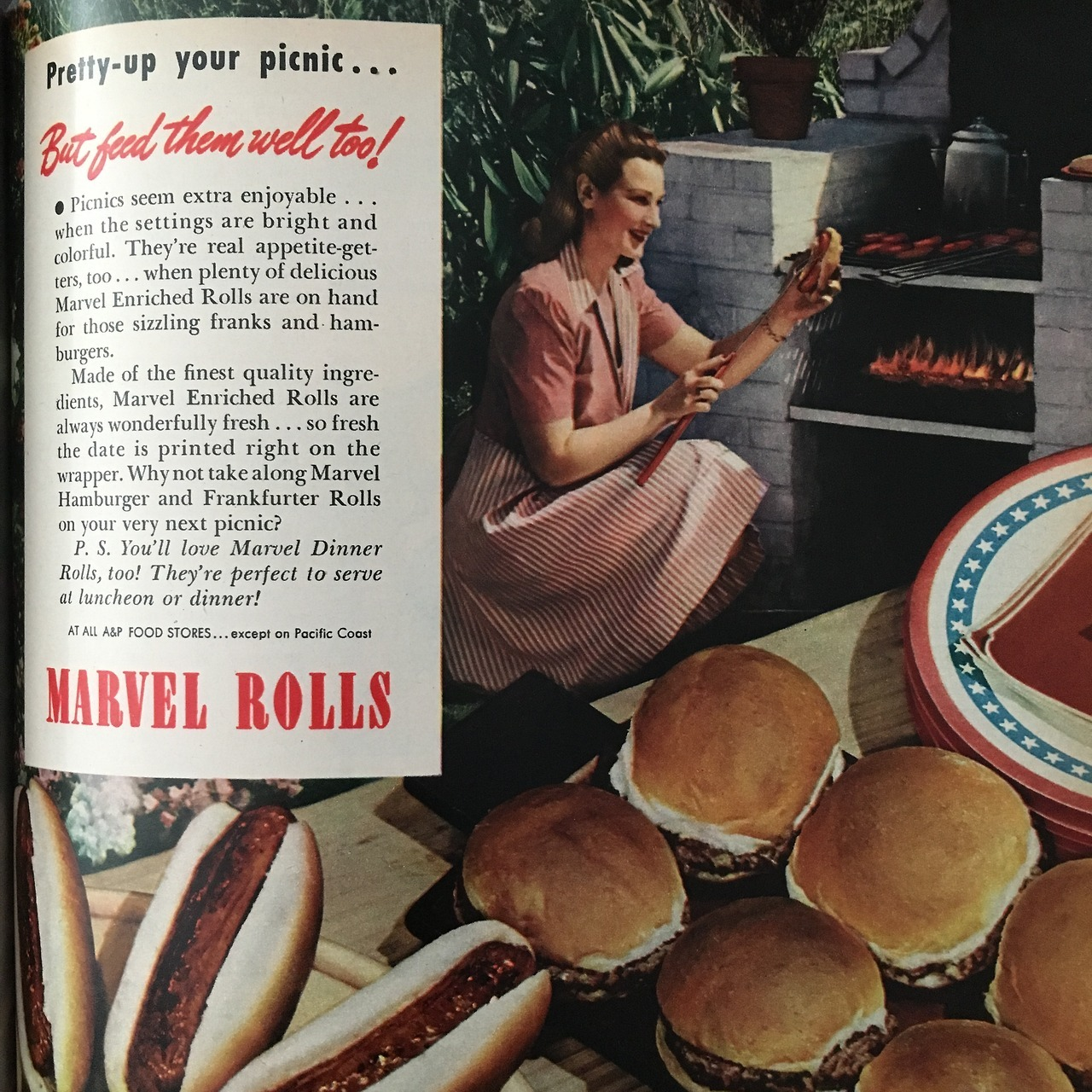 """""""Pretty-up your picnic…but feed them well too!"""" Marvel Rolls.   Woman's Day. July 1946"""