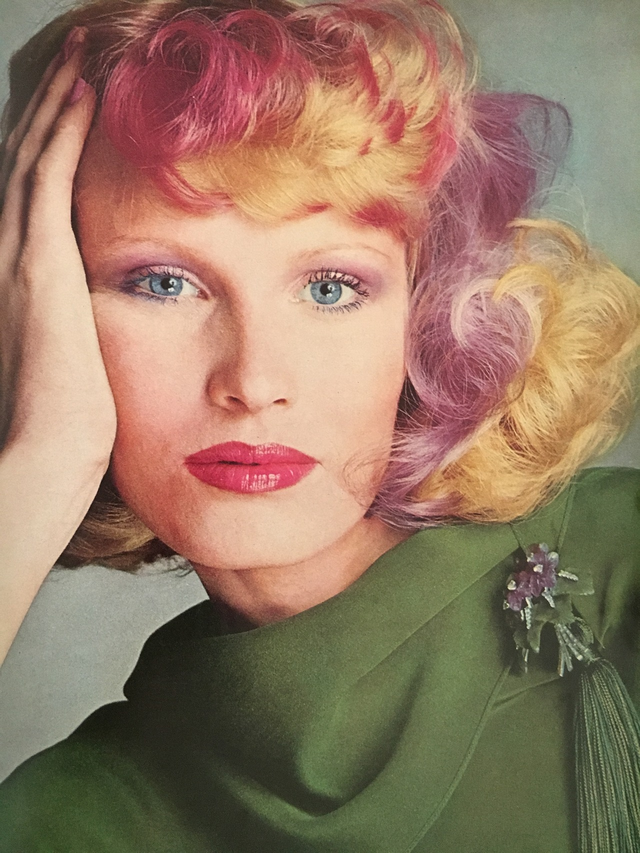 """Rainbow hair in the '70s. Photo by Richard Avedon. Vogue. July 1974.  The article that went along with this image was to illustrate the types of highlights that were newly available, so I am sure this is a wig that was dyed, but it is quite stunning!  Thank you  @summericecreamsundae  for the feedback! The request was for more'60s and'70s posts, as well as more content from the'20s. I will admit, that the 1920s is the decade with the least representation in my collection, so I will post what I have, and I am always on the prowl for more from that era to add. Also, I'll be sure to keep the'60s and'70s content coming (that's one of my favorite eras, too!).  Quick tip: At the homepage, I've created a """"Decades & Episodes"""" link, where you can access your favorite decade or check out my podcasts with one click!"""