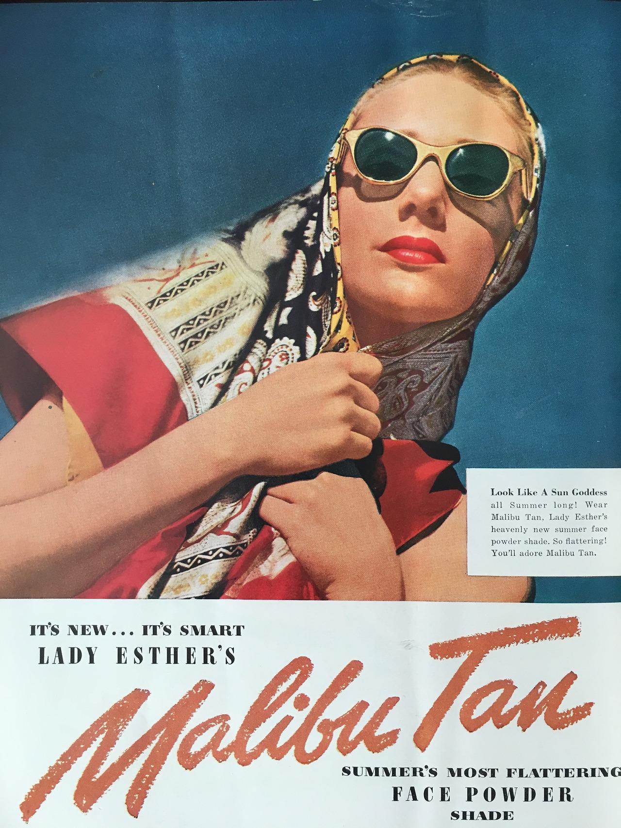 Lady Esther's Malibu Tan Face Powder.  Mademoiselle. July 1947.