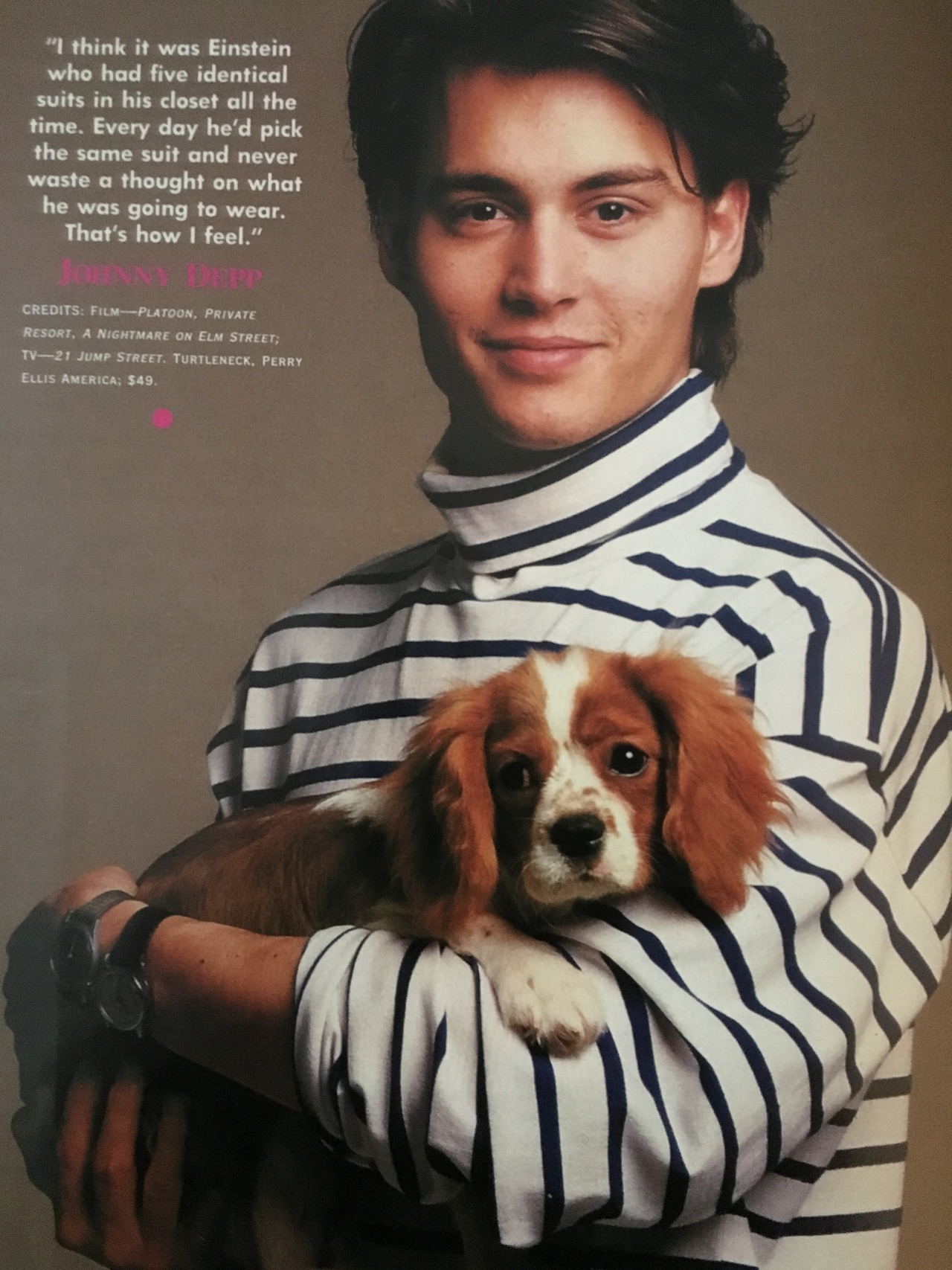 Look! It's Johnny Depp and a puppy!    Seventeen. July 1988.