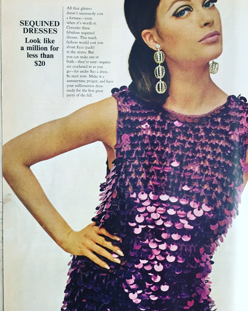 Sequined dresses - look like a million for less than $20.     Ladies' Home Journal. July 1966