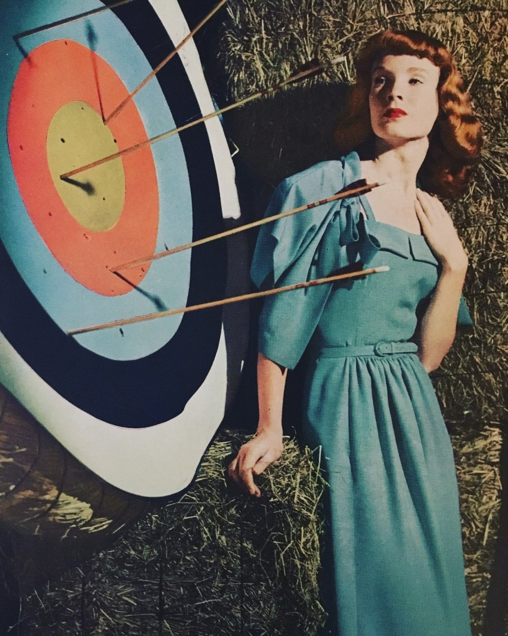 Verney Fabrics.     Vogue. June 1947.     Today's prompt is teal, so here's a lovely teal dress!