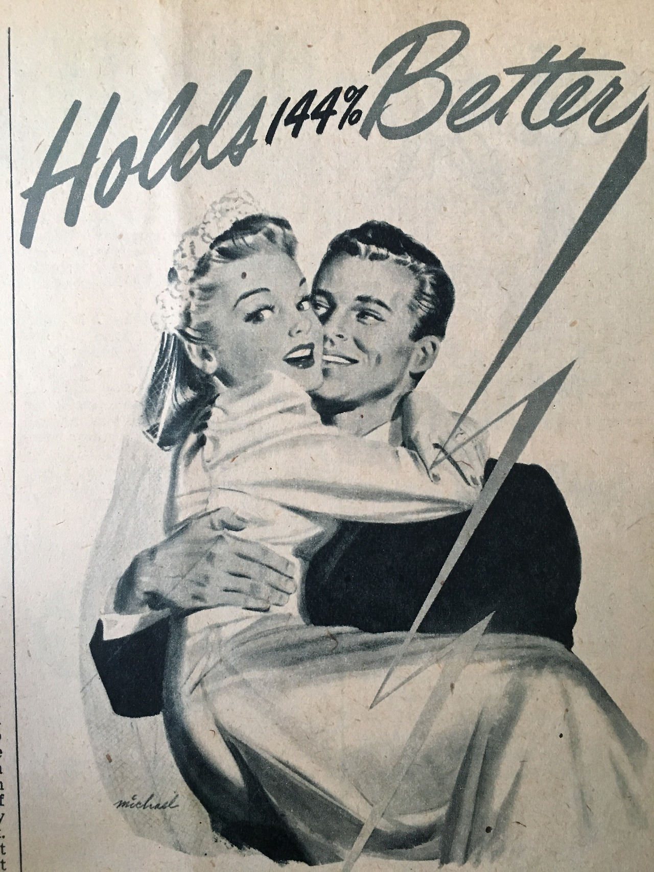 Detail of an ad for Gayla Hold-Bob Supergrip bobby pins.     Calling All Girls. June 1947.