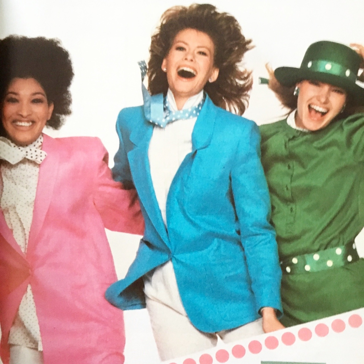 """Today's prompt was """"yay!"""" and when I came across this image, I just pictured them all cheering.     From an ad for New Freedom Maxi Pads.     Cosmopolitan. June 1984.     They look quite ecstatic."""