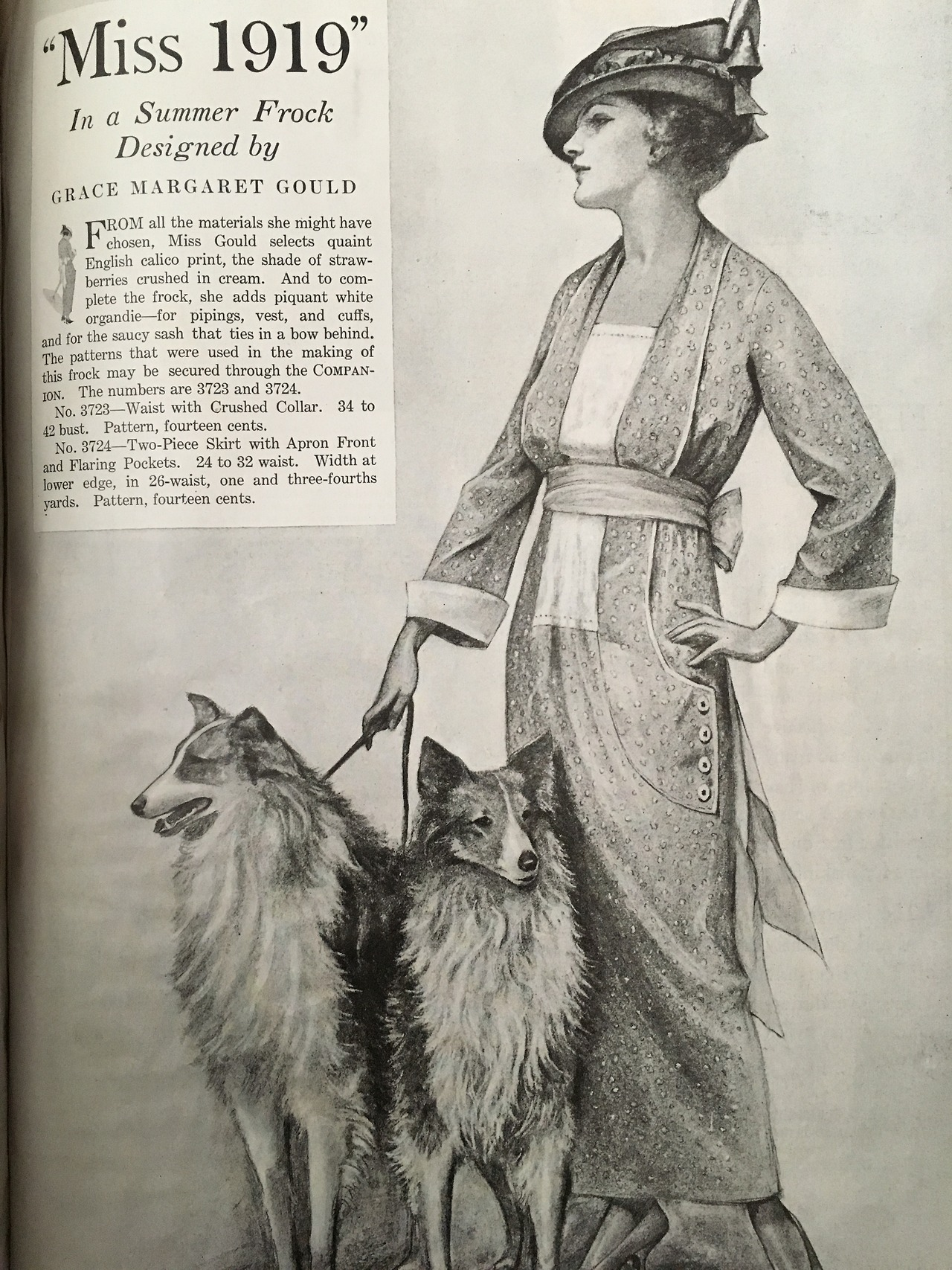 Miss 1919 in a summer frock designed by Grace Margaret Gould.     Woman's Home Companion. June 1919.