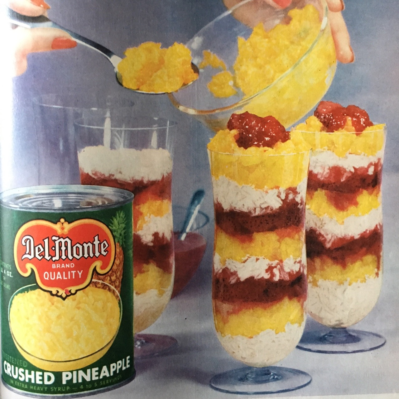 Del Monte Crushed Pineapple.     Better Homes and Gardens. June 1956.