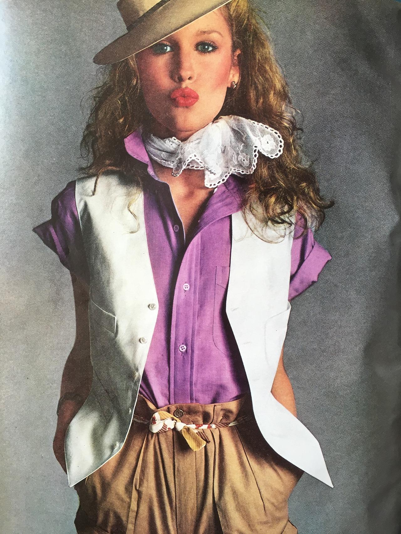 Roseanne Vela: Free Spirit/Summer Style.     Photo by Richard Avedon.     Vogue. June 1978.