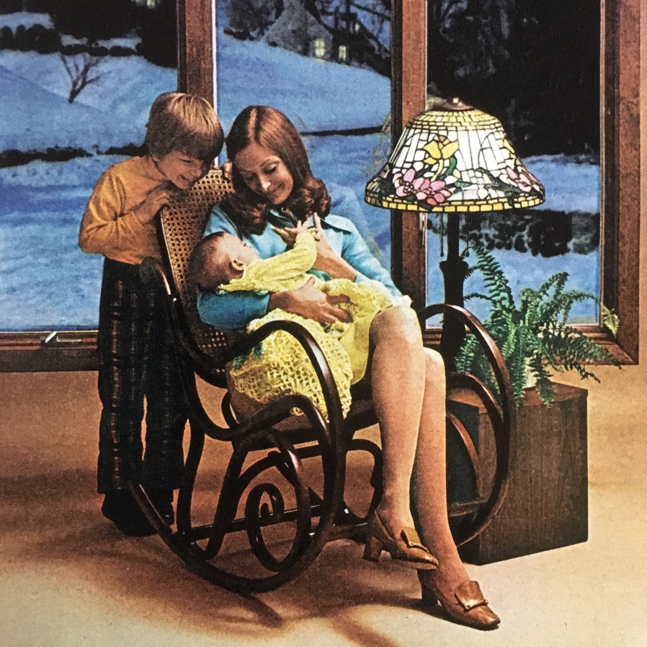 Detail of an Andersen Windows ad.     Better Homes and Gardens. June 1974.     My Mom has the same exact rocking chair.