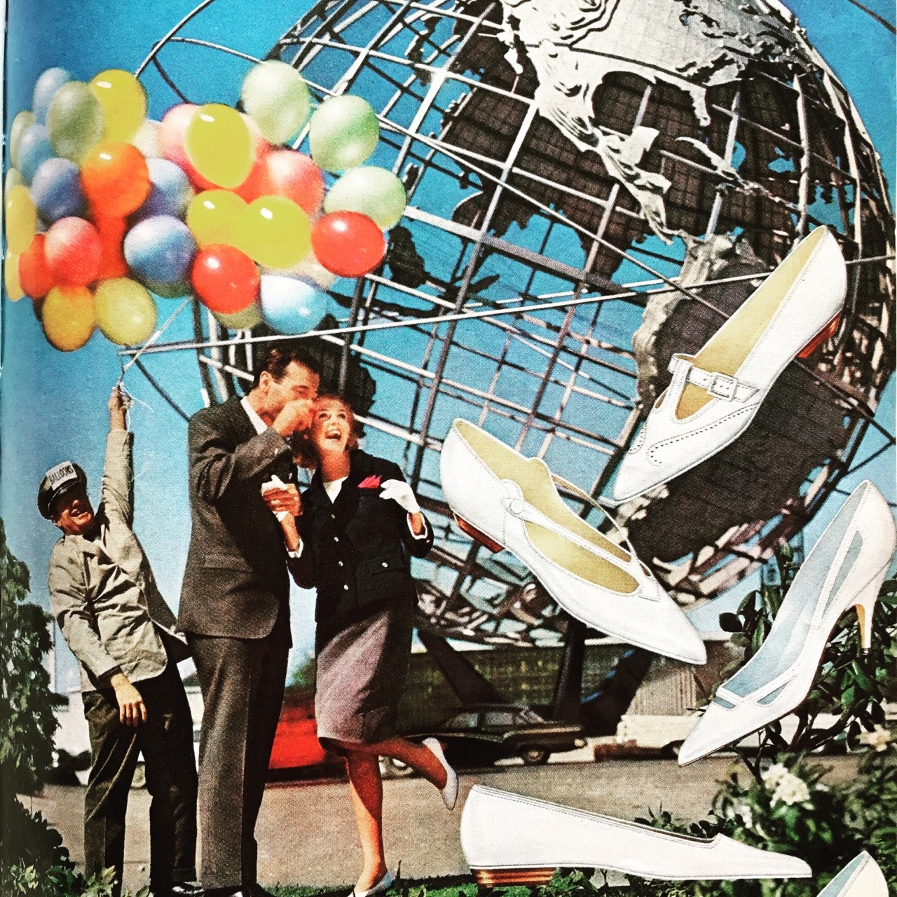 Flings shoes.  Mademoiselle. June 1964.  I'm a New York native, specifically from Queens, so of course I fell in love with this'64 World's Fair era ad featuring the iconic Unisphere. It was commissioned to celebrate the beginning of the space age and became a symbol of unity. Also, Queens is considered to be the most ethnically diverse county in the world and there are approximately 800 languages spoken in the borough.