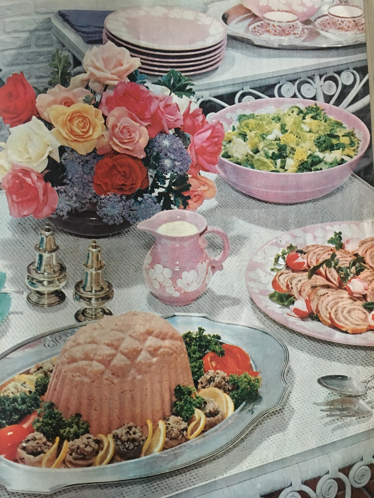 """""""Summer Garden Buffet"""".     Ladies Home Journal. June 1957.     Yesterday's prompt was """"Starts with F"""" so I decided to go with food and flowers from the fifties!"""