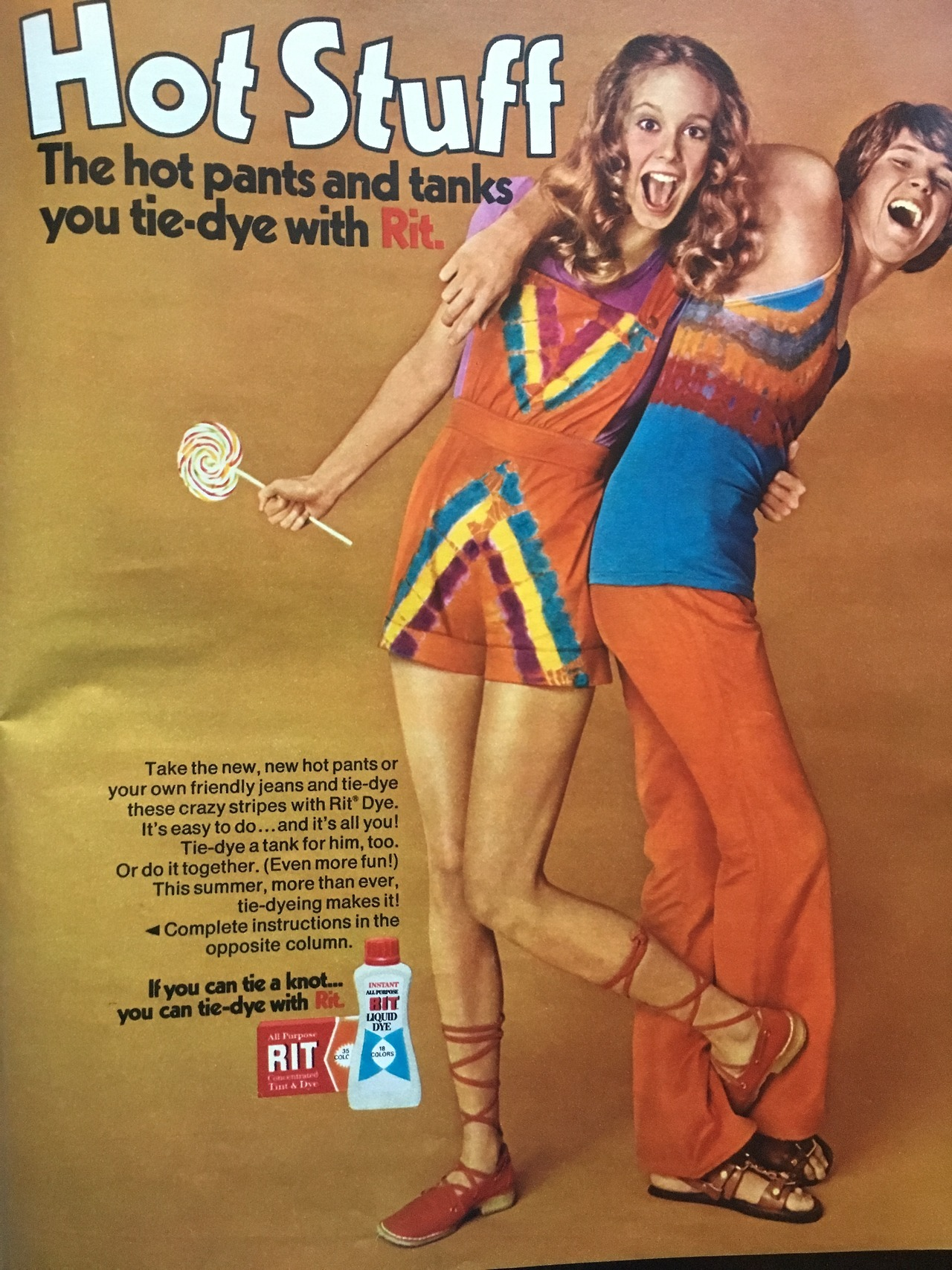 Hot Stuff. The hot pants and tanks you tie dye with Rit.     Seventeen. June 1971.