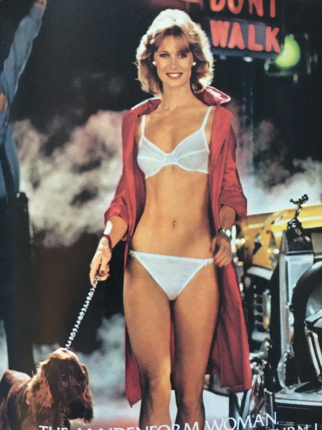 """""""The Maidenform Woman. You never know where she'll turn up.""""     Maidenform. Cosmopolitan. June 1983."""