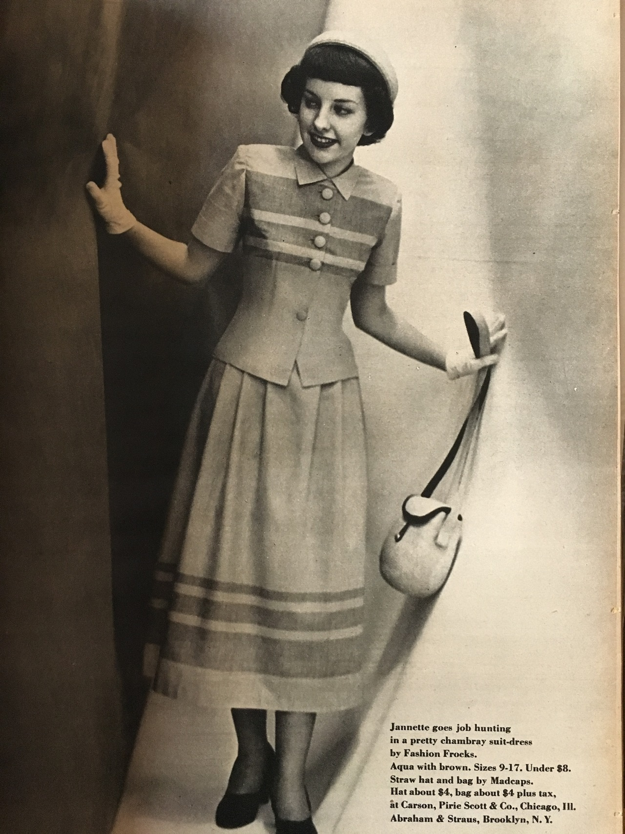 """""""Jannette goes job hunting in a pretty chambray suit-dress by Fashion Frocks.""""     True Story. June 1949."""