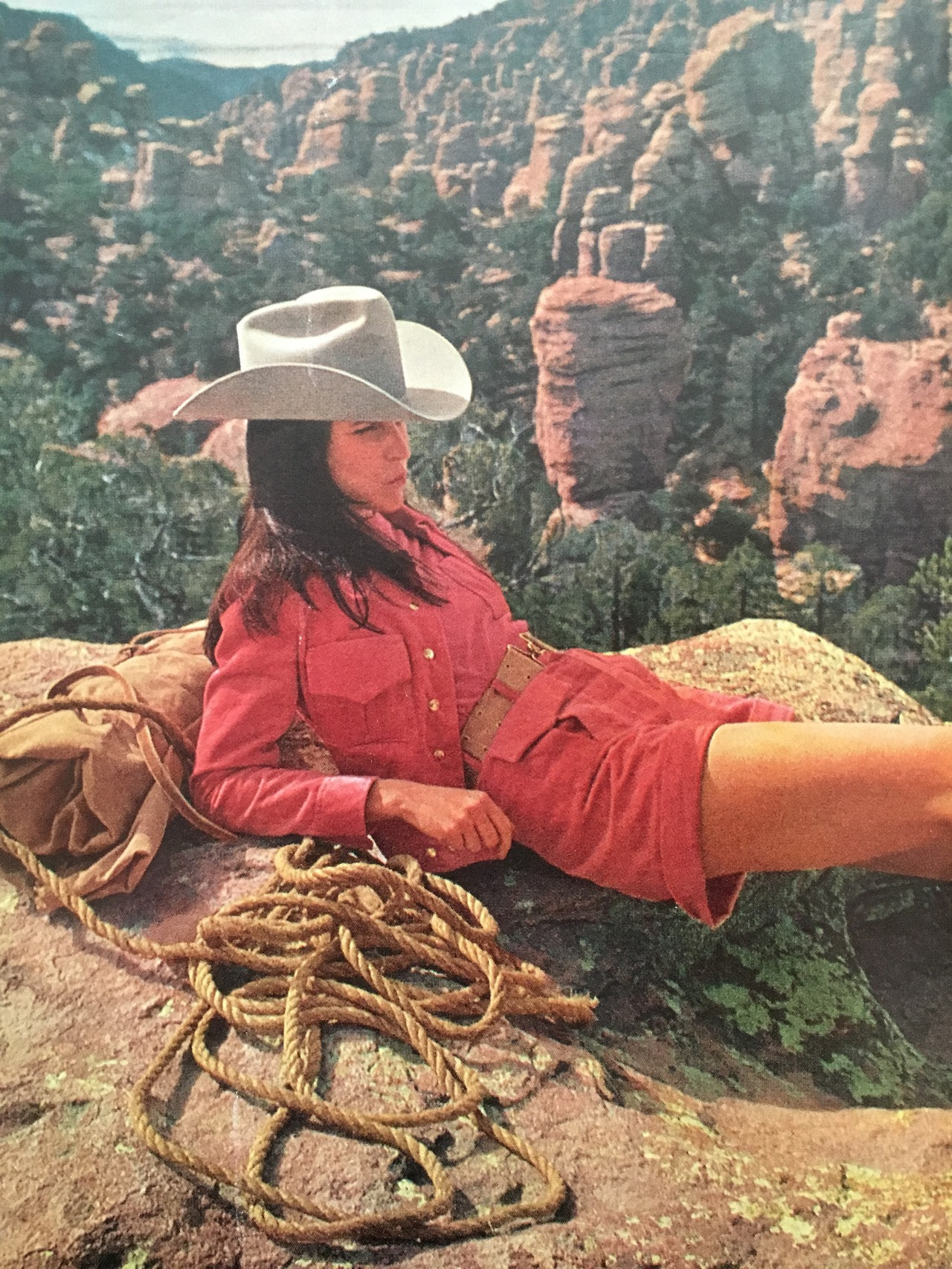 """The pass proved steep and tortuous; but Gilda, plucky in her cotton-velour cuffed shorts and Western-style jacket with a color-mated knit shirt (by Mary Anne Restivo for Something Special), pushed on. At the summit, she sank exhausted to the ground to survey the awesome Southwestern scene and search the horizon for her next landmark.""     McCall's.  June 1969."