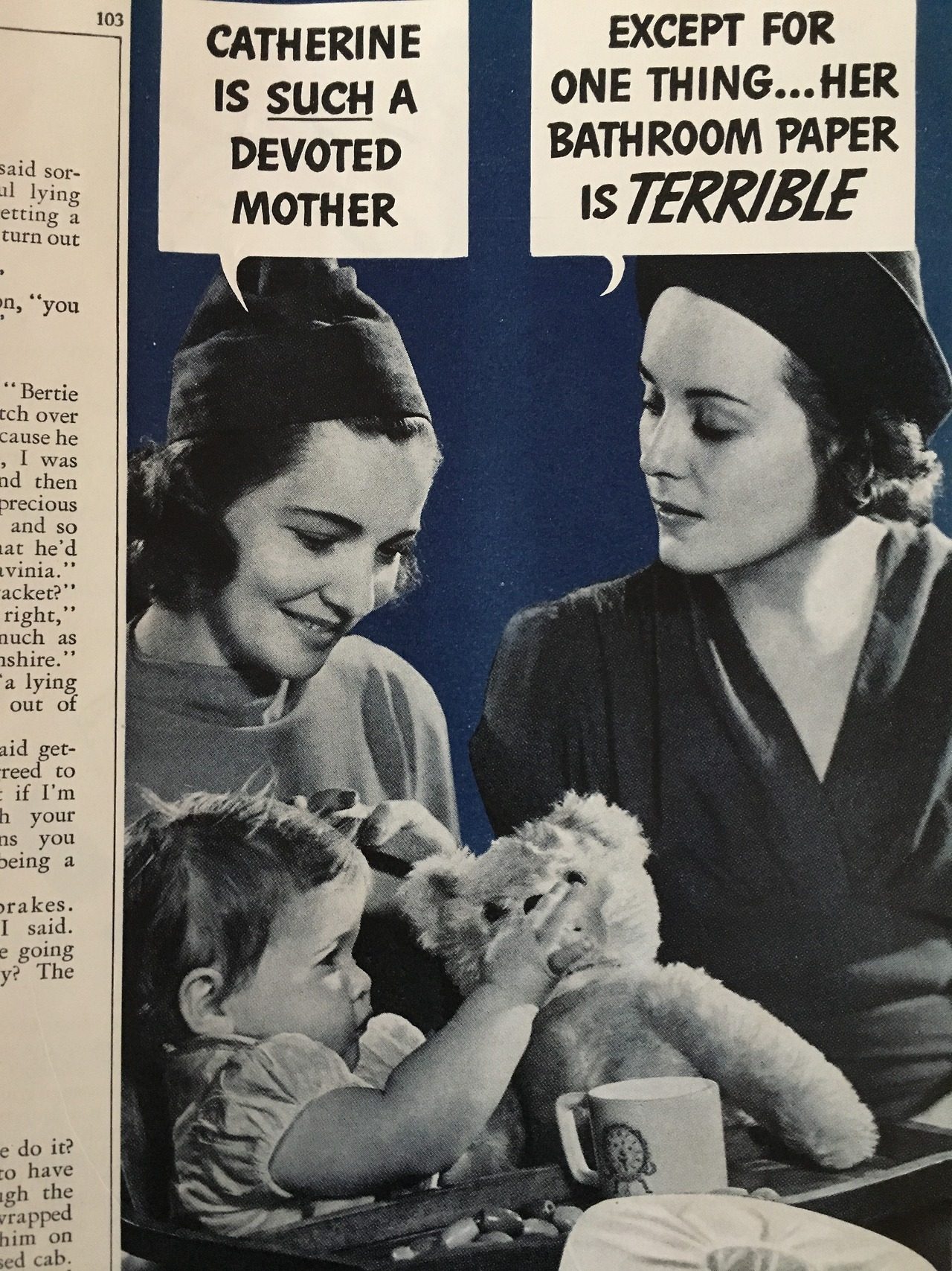 Scot Tissue.   Woman's Home Companion. May 1938.     I love the narrative ads from the pre-television era, because they truly read like the commercials that were to come ahead.