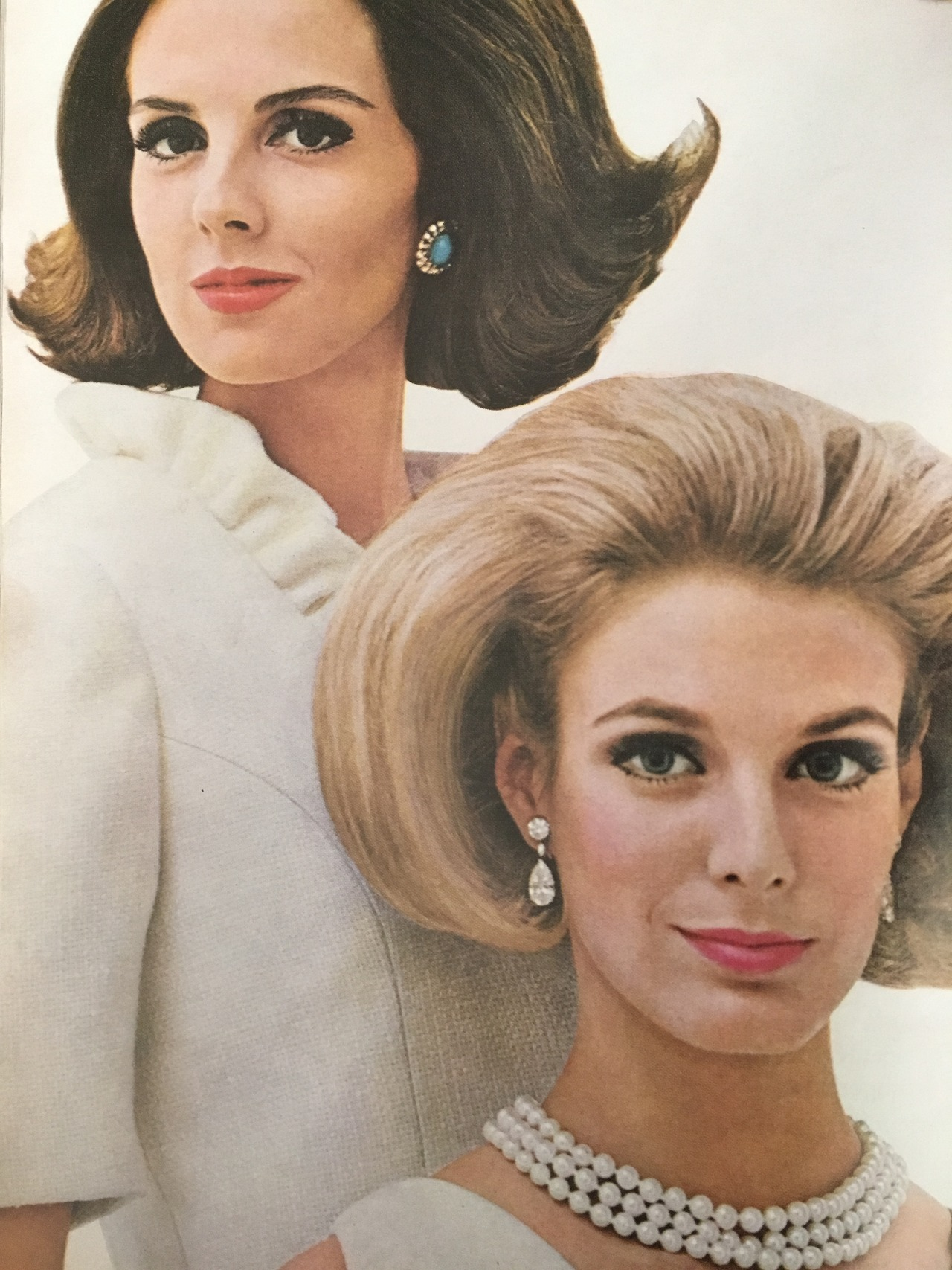 Coty.   Mademoiselle. May 1964.     Lots and lots of hair spray. And pearls.