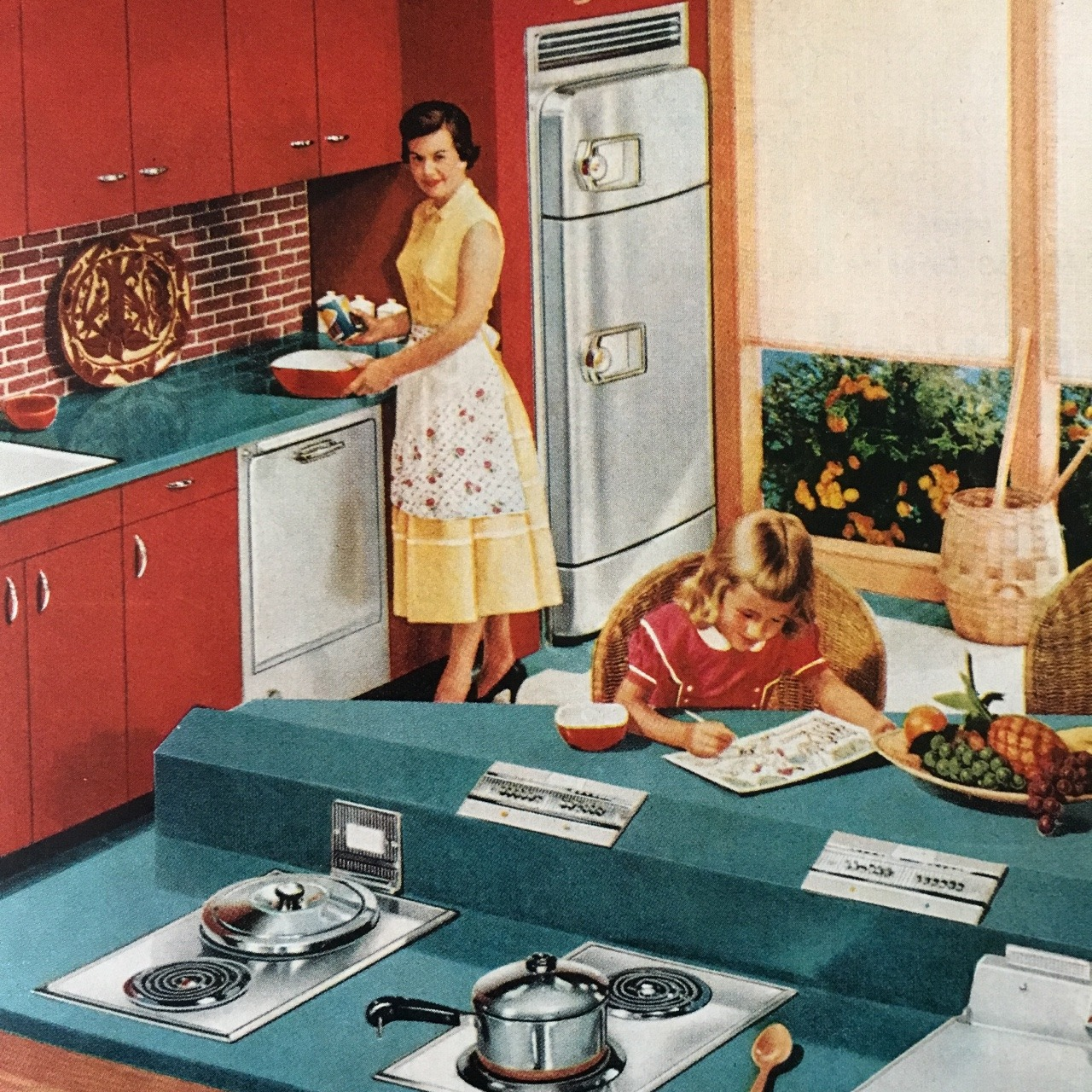 Detail from a Hotpoint appliances ad.   Better Homes and Gardens. May 1956.