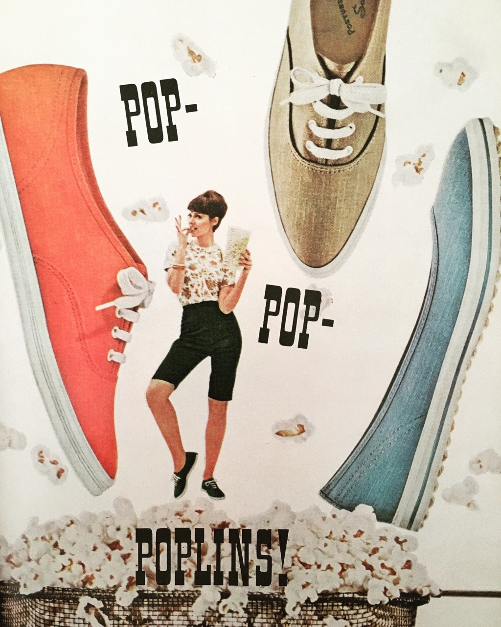 Pop-Pop Poplins!  P-F Sneakers. Mademoiselle. May 1964  The Posture Foundation insole was patented by well-known tire (and canvas footwear pioneer), BF Goodrich in 1937. The shoes were commonly referred to as P-F, and P-F Flyers were a pretty popular brand, especially in the'50s and'60s. By 1972, BF Goodrich left the shoe business and was sold to the parent company of Converse, but due to legalities, the brand was untouched from 1975 until 2001, when New Balance purchased PF & relaunched it in 2005.