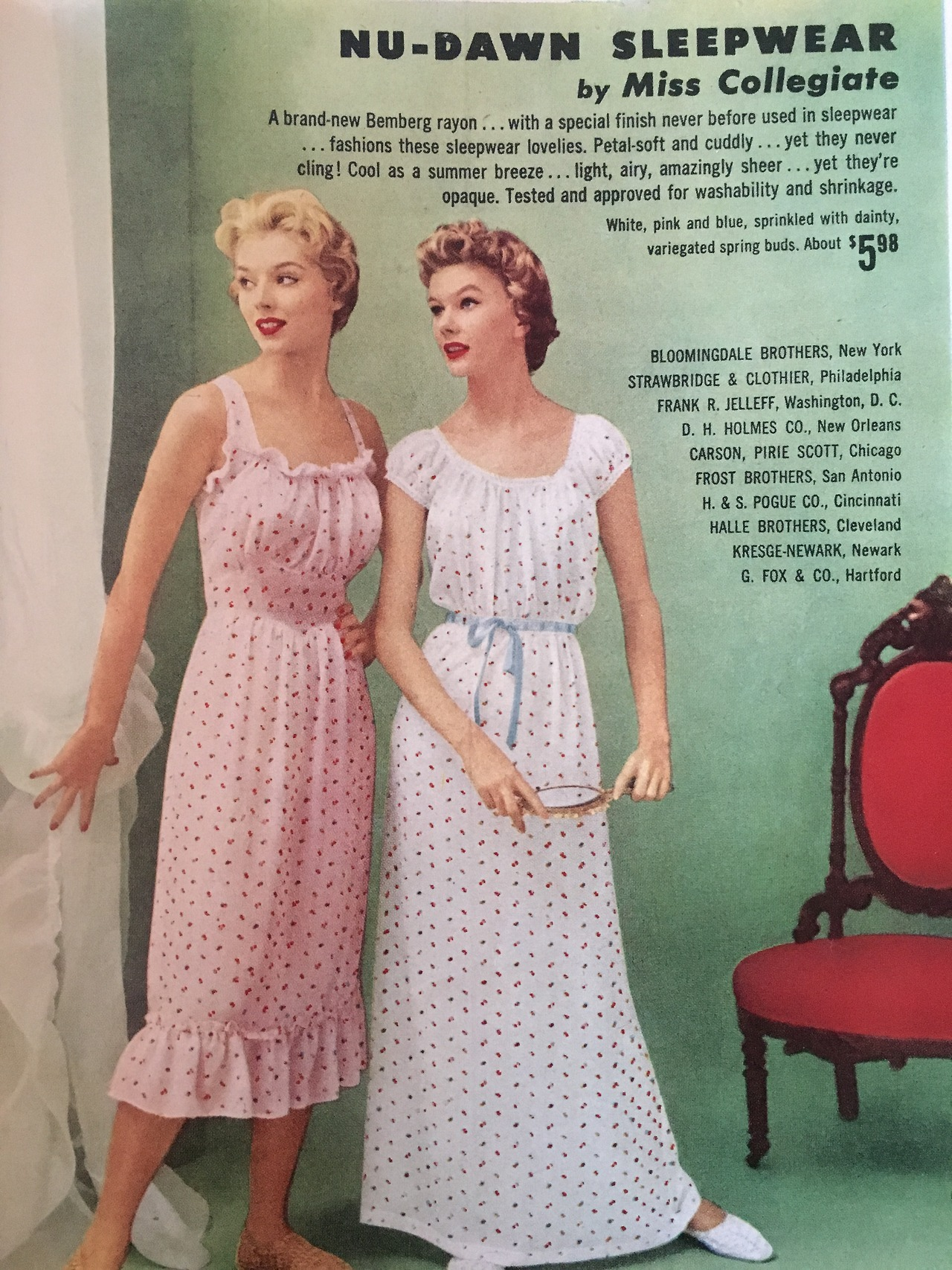 Nu-Dawn Sleepwear by Miss Collegiate  Charm Magazine. May 1955.