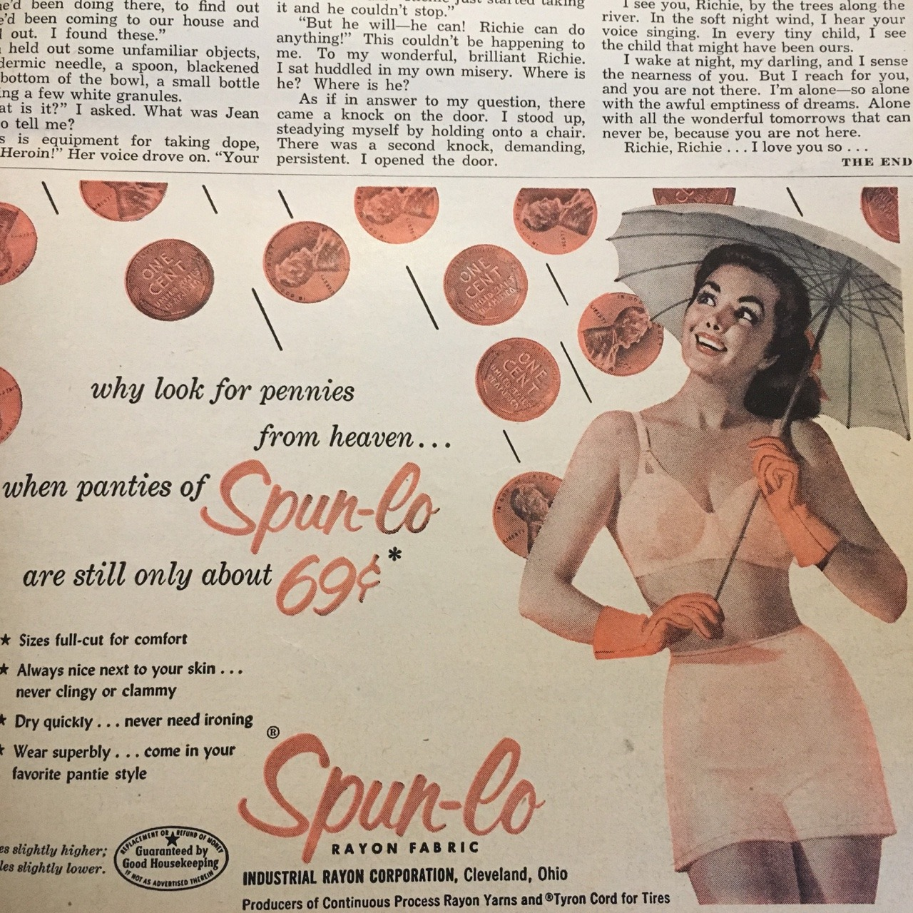 Spun-lo Rayon Fabric  True Story. May 1953