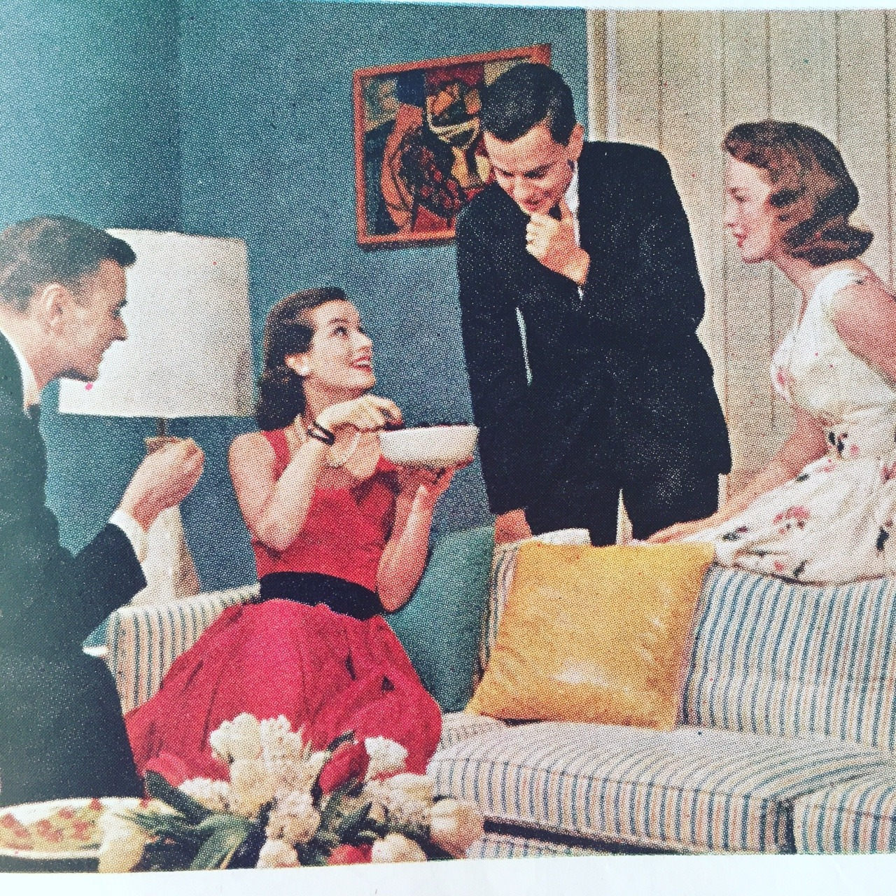 """""""Conversation Piece"""" - an article on entertaining.   Ladies' Home Journal. May 1957."""